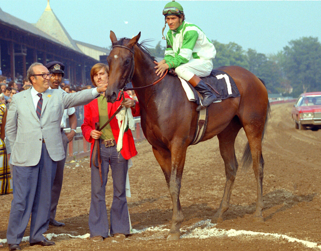 La Prevoyante (John LeBlanc up) in the winner's circle for the 1972 Spinaway at Saratoga (NYRA)