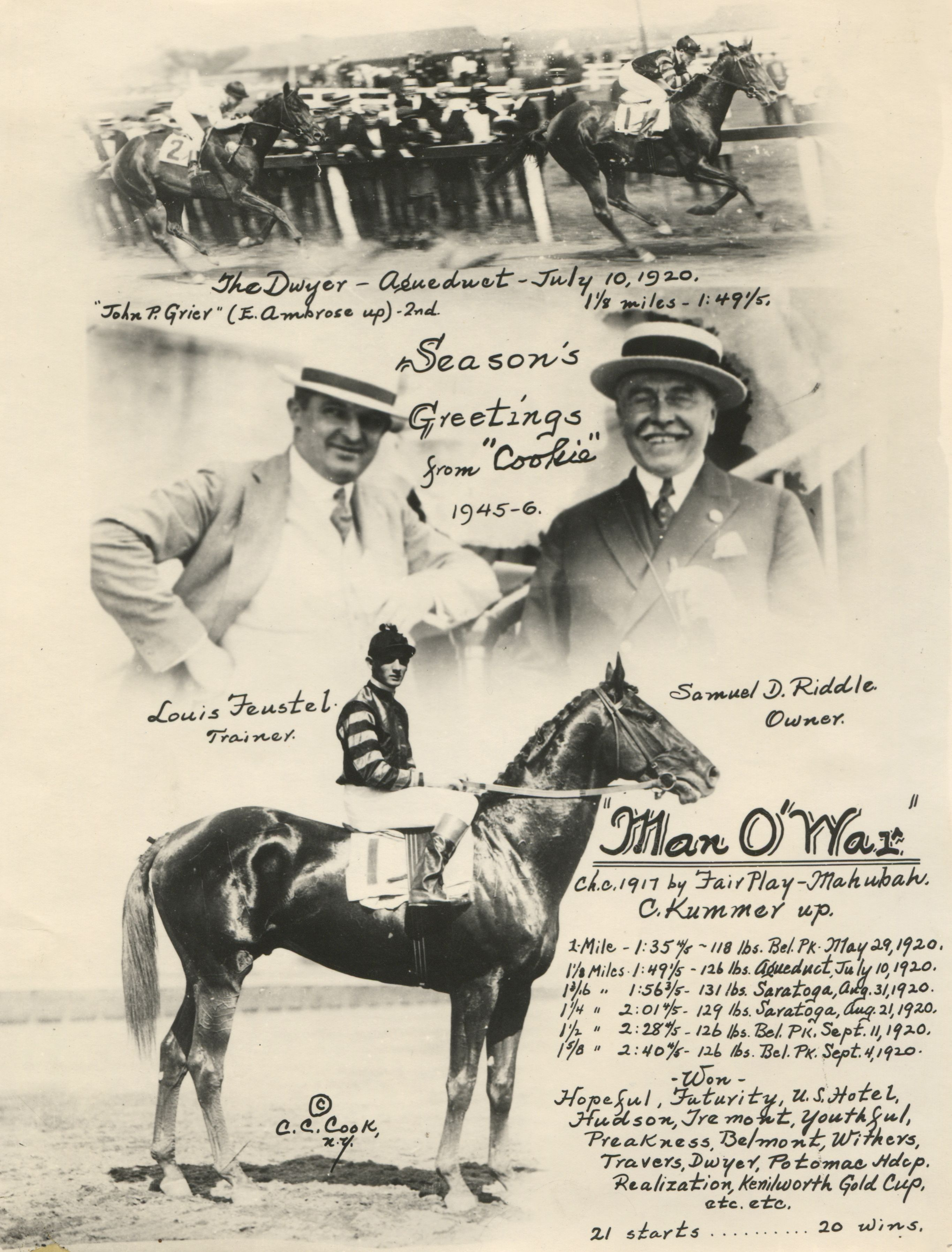 """The 1920 Dwyer Stakes, won by Man o' War featured in the annual """"Christmas Cookie"""" greeting card produced by photographer C. C. Cook (C. C. Cook/Museum Collection)"""