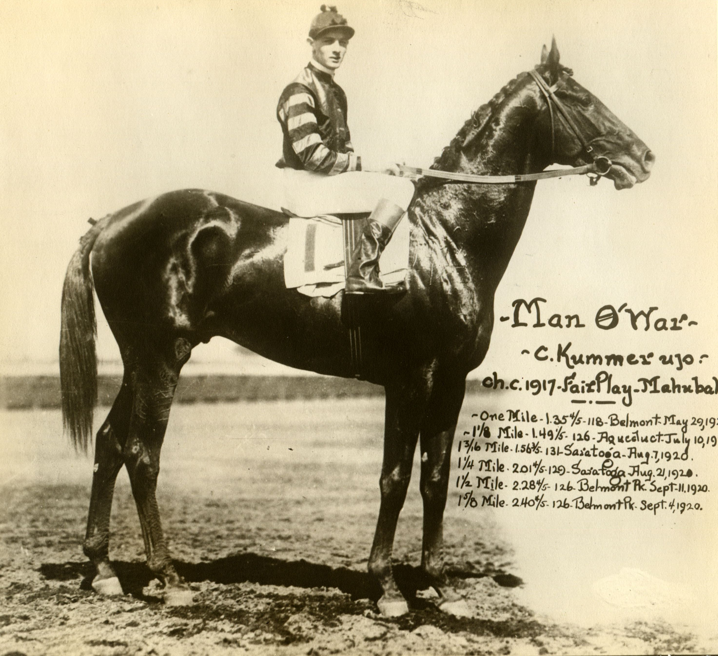 Man o' War with Clarence Kummer up (C. C. Cook/Museum Collection)
