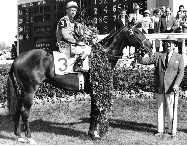 Needles, Dave Erb up, after winning the 1956 Kentucky Derby (Churchill Downs Photo)