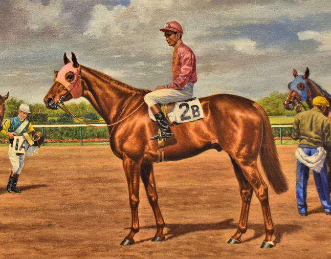 "Painting of Neji (Frank ""Dooley"" Adams up) at the 1955 Temple Gwathmey at Belmont Park by Richard Stone Reeves, 1955 (Museum Collection)"