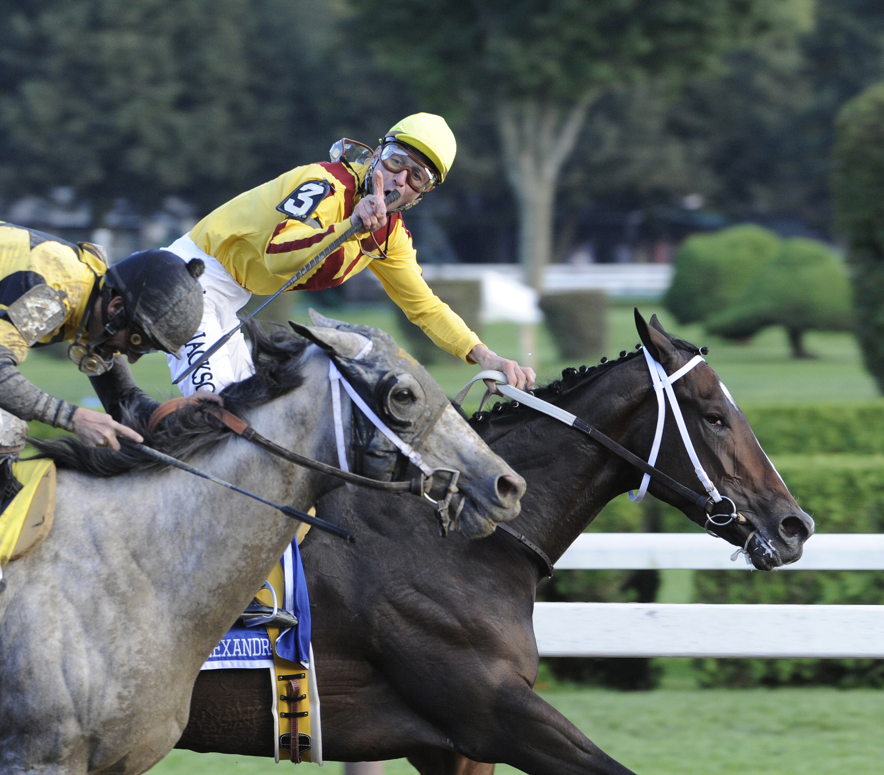 Rachel Alexandra (Calvin Borel up) winning the 2009 Woodward by a head, becoming the first filly in history to win this prestigious race (Skip Dickstein)