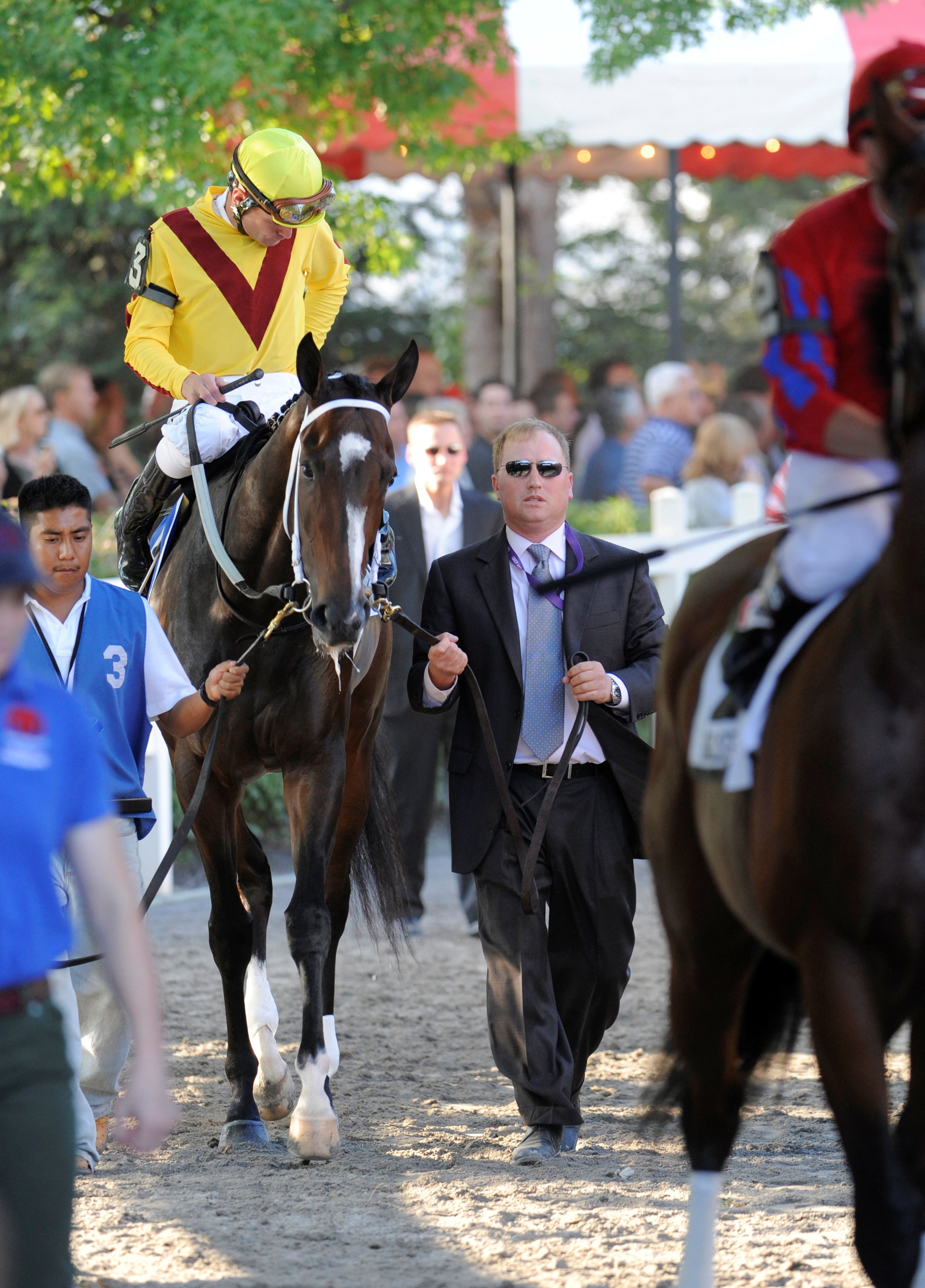 Rachel Alexandra (Calvin Borel up) heading to the track in the post parade for the 2009 Woodward at Saratoga (Skip Dickstein)