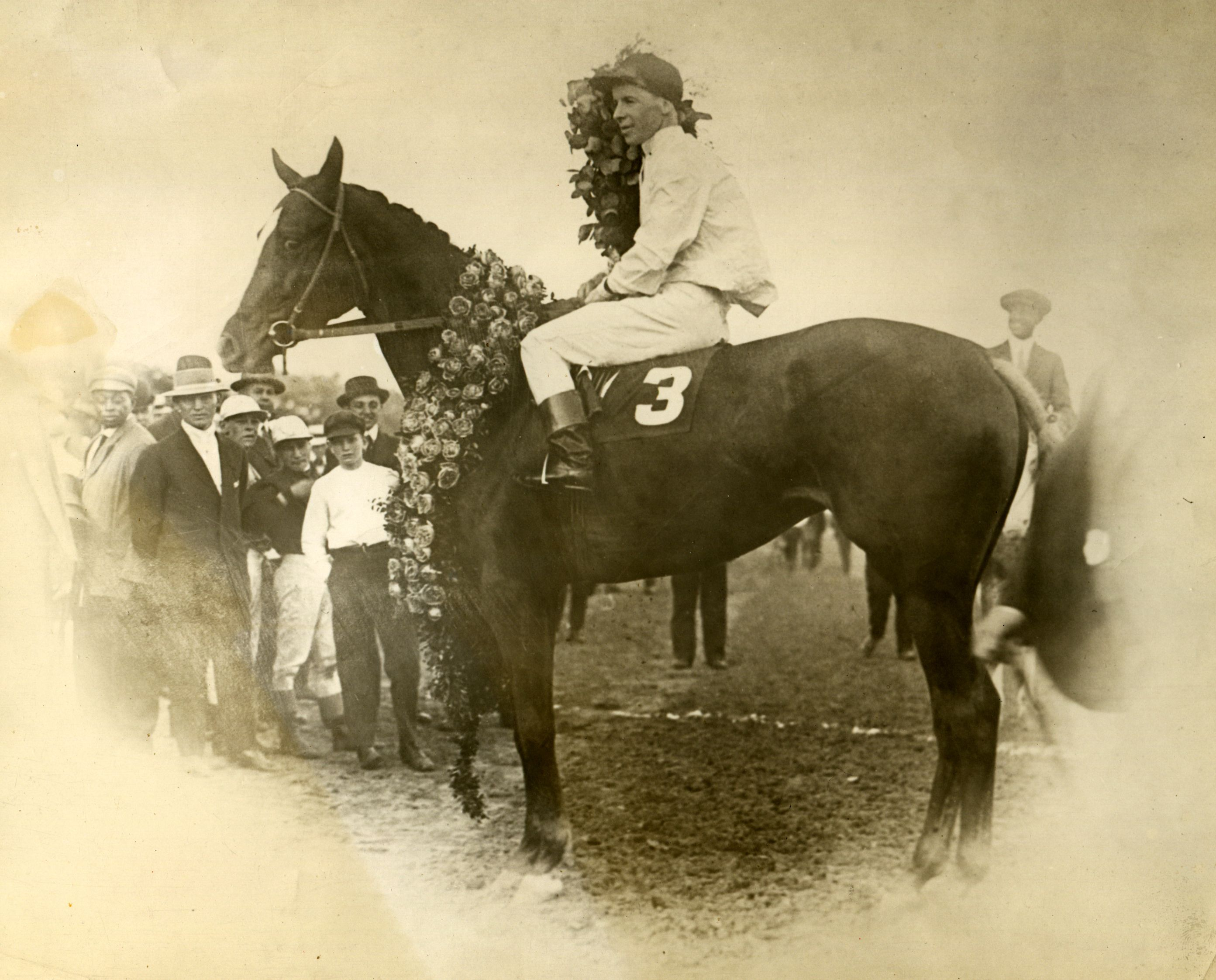 Regret (Joe Notter up) in the winner's circle for the 1915 Kentucky Derby (Caulfield & Shook/Museum Collection)