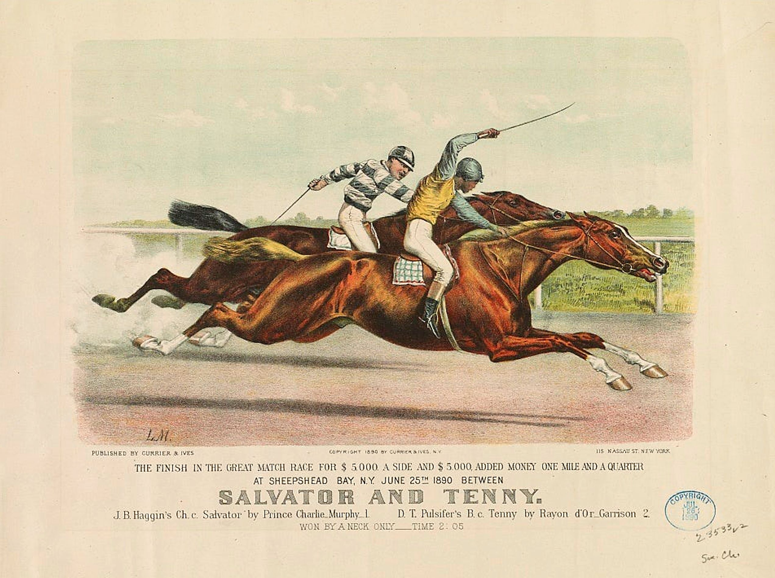 Salvator defeating Tenny in a match race (Currier and Ives)