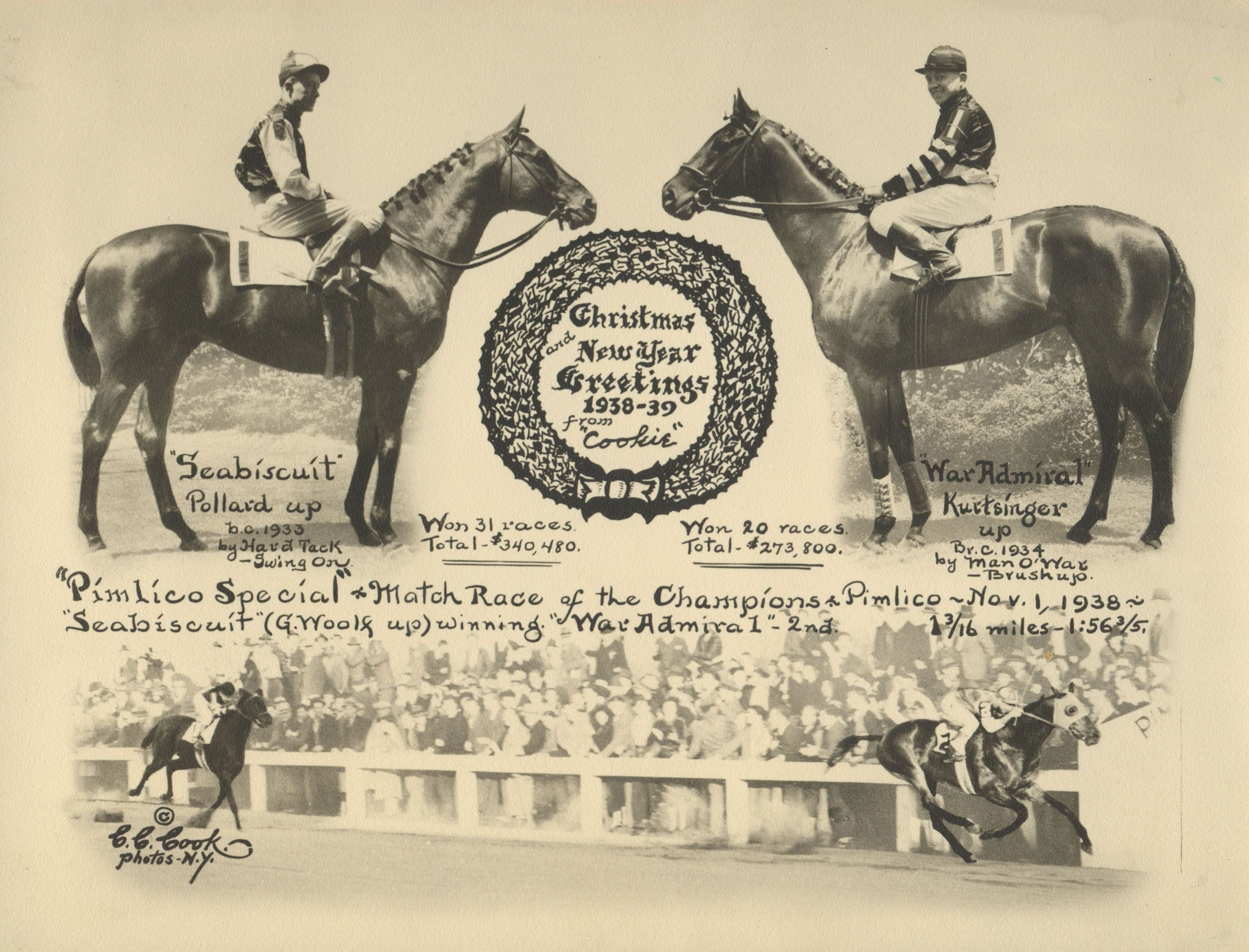 Seabiscuit vs. War Admiral, 1938 Pimlico Special, from a C. C. Cook Christmas card (C. C. Cook)