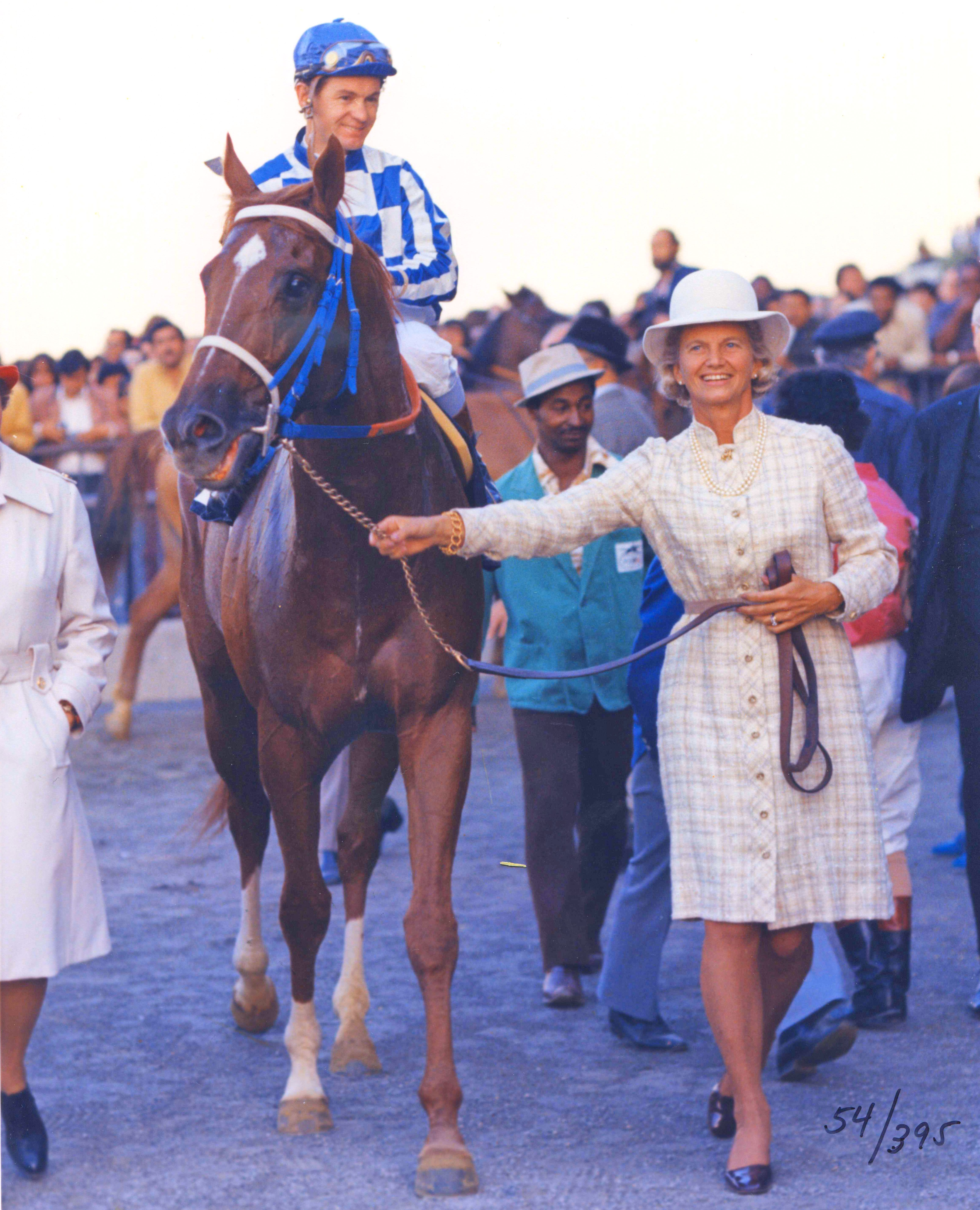 Penny Chenery leads Secretariat (Turcotte up) into the winner's circle after winning the Man o' War Stakes at Aqueduct, October 1973 (NYRA/Bob Coglianese/Museum Collection)