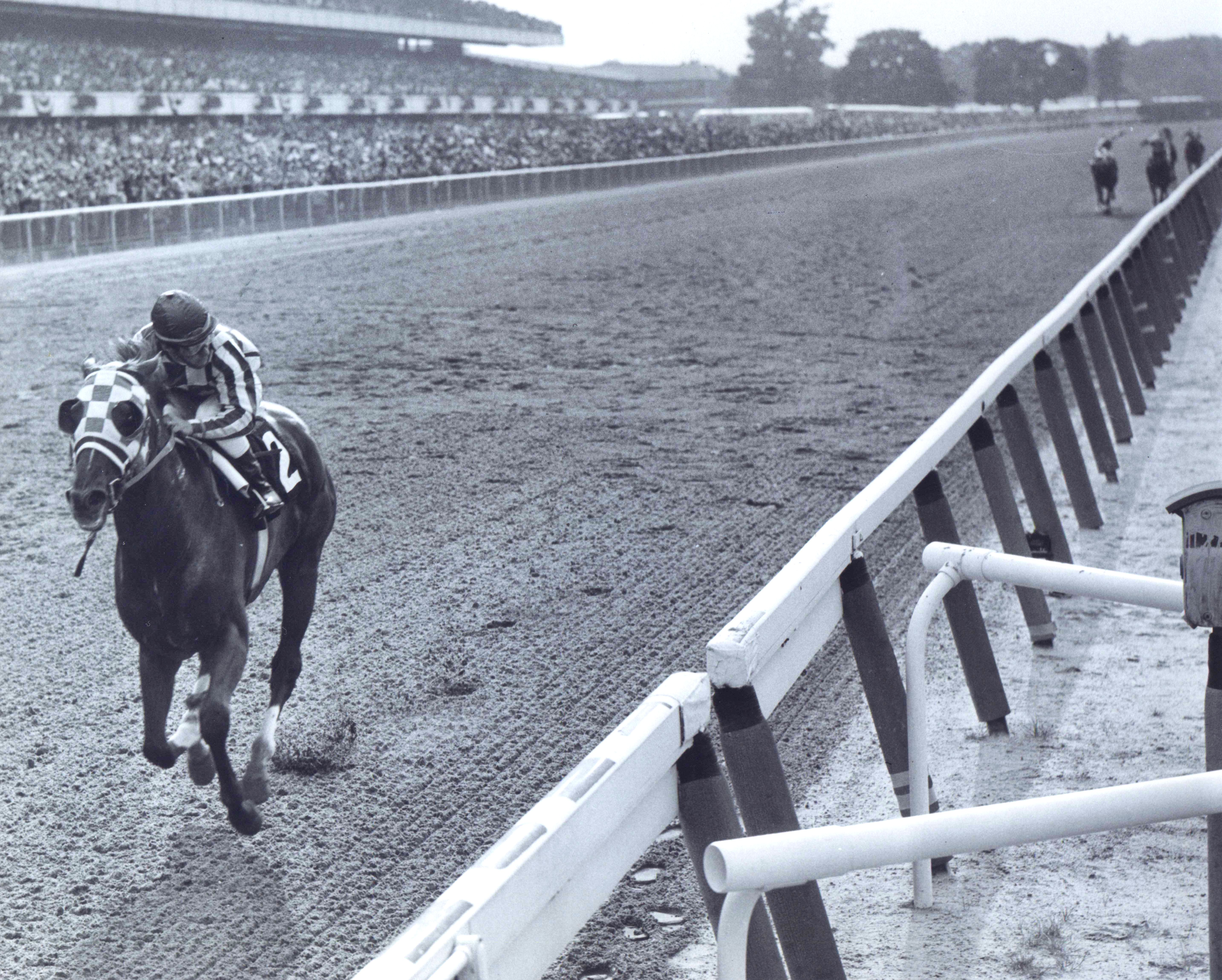 Secretariat (Ron Turcotte up) winning the 1973 Belmont Stakes by a record-breaking 31 lengths, becoming America's 9th Triple Crown winner (Bob Coglianese/Museum Collection)