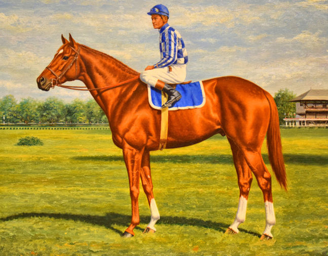 Painting of Secretariat (Ron Turcotte up) by Richard Stone Reeves, 1973 (Museum Collection)