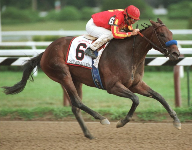 Silverbulletday (Jerry Bailey up) winning the 1999 Alabama at Saratoga (NYRA)