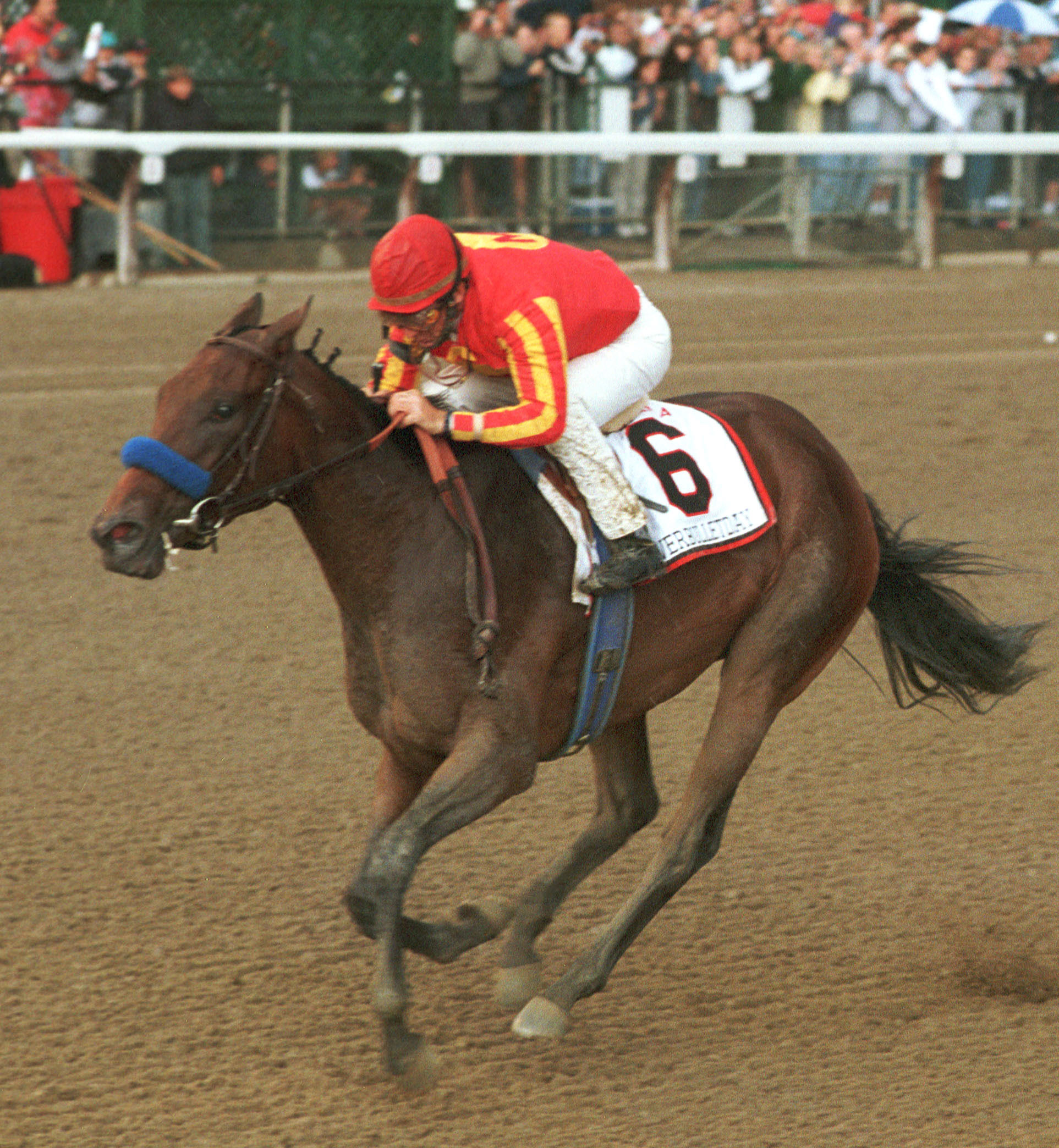 Silverbulletday (Jerry Bailey up) winning the 1999 Alabama at Saratoga (Bob Coglianese/NYRA)