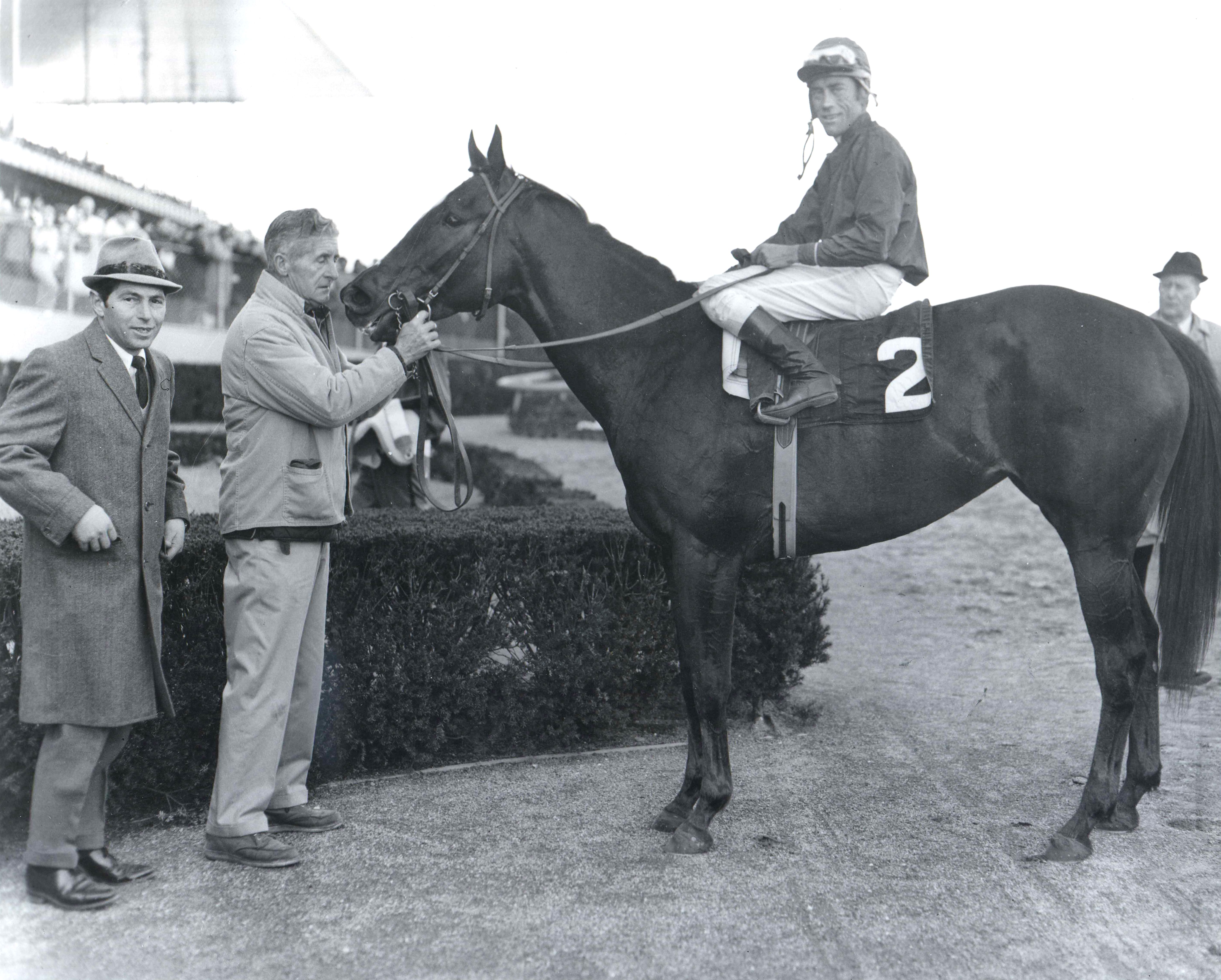 Ta Wee (John Rotz up) in the winner's circle (Bob Coglianese/Museum Collection)