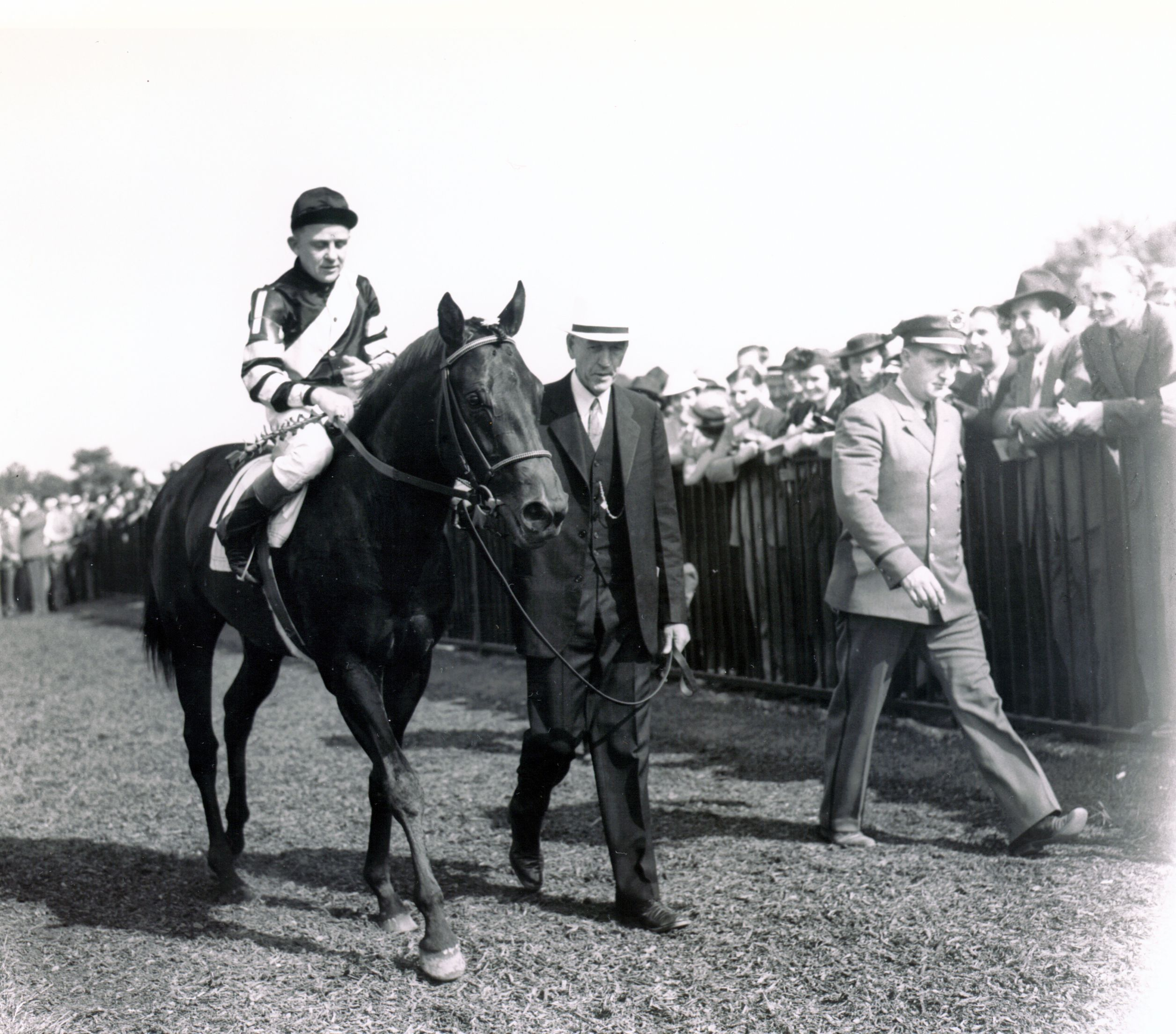 War Admiral (Charles Kurtsinger up) with trainer George Conway at the 1937 Belmont Stakes (Keeneland Library Morgan Collection/Museum Collection)