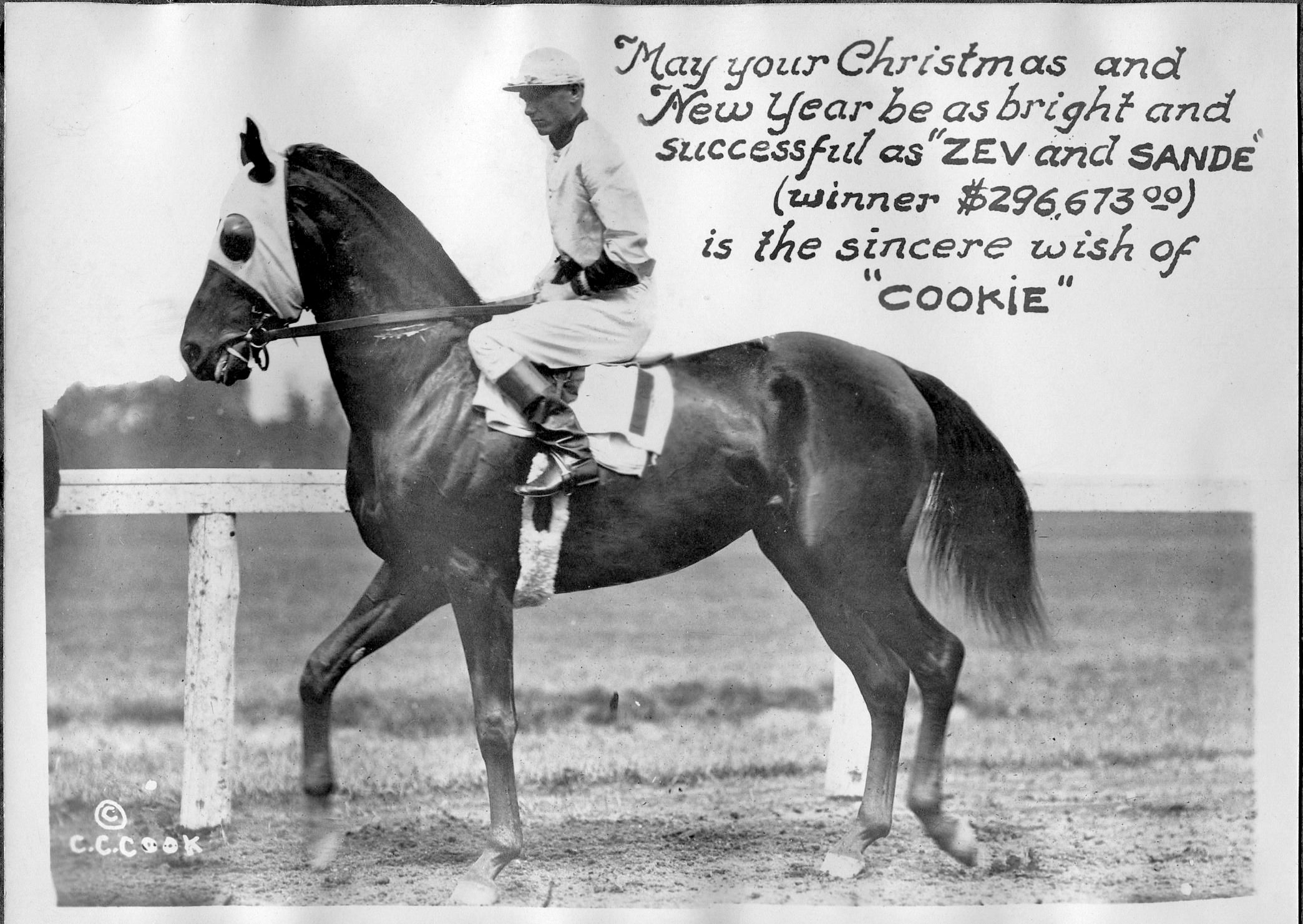 "Zev (Earl Sande up) featured in a ""Christmas Cookie"" greeting card produced by photographer C. C. Cook (C. C. Cook/Museum Collection)"