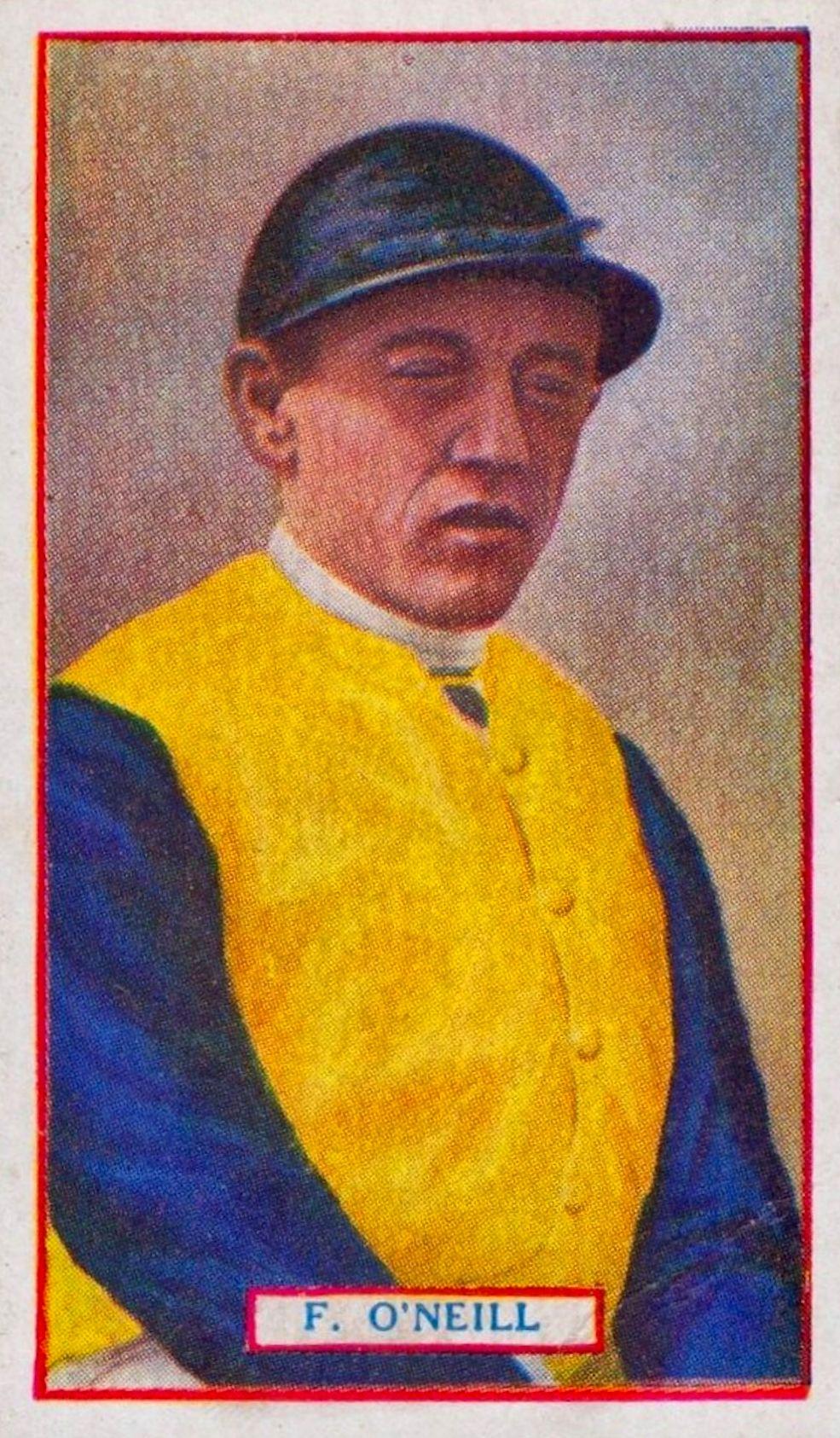 Frank O'Neill, 1923 Godfrey Phillips jockey card (Museum Collection)