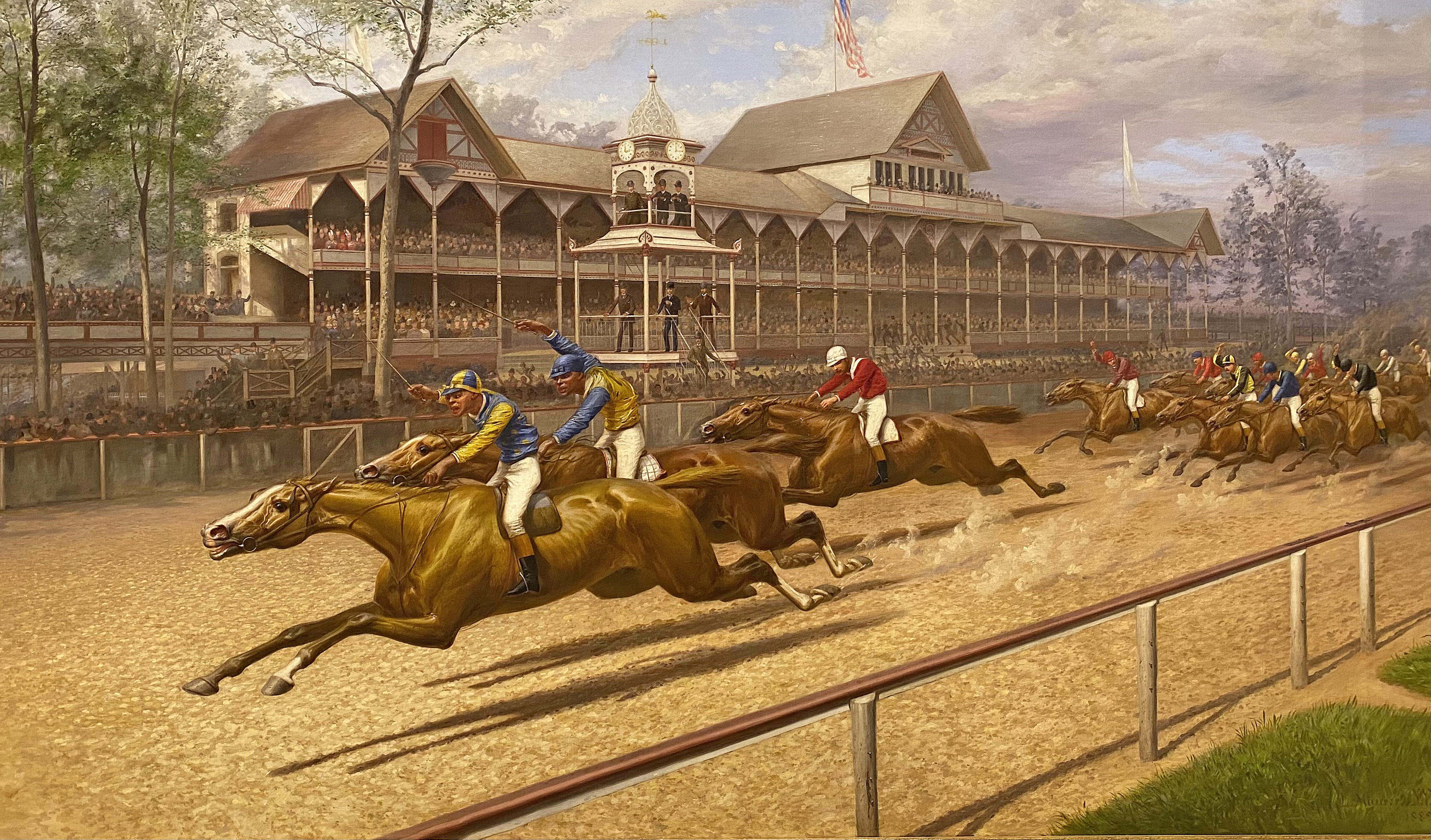 "First Futurity by L. Maurer, 1889: Proctor Knott with Shelby ""Pike"" Barnes in front winning the race (Museum Collection)"