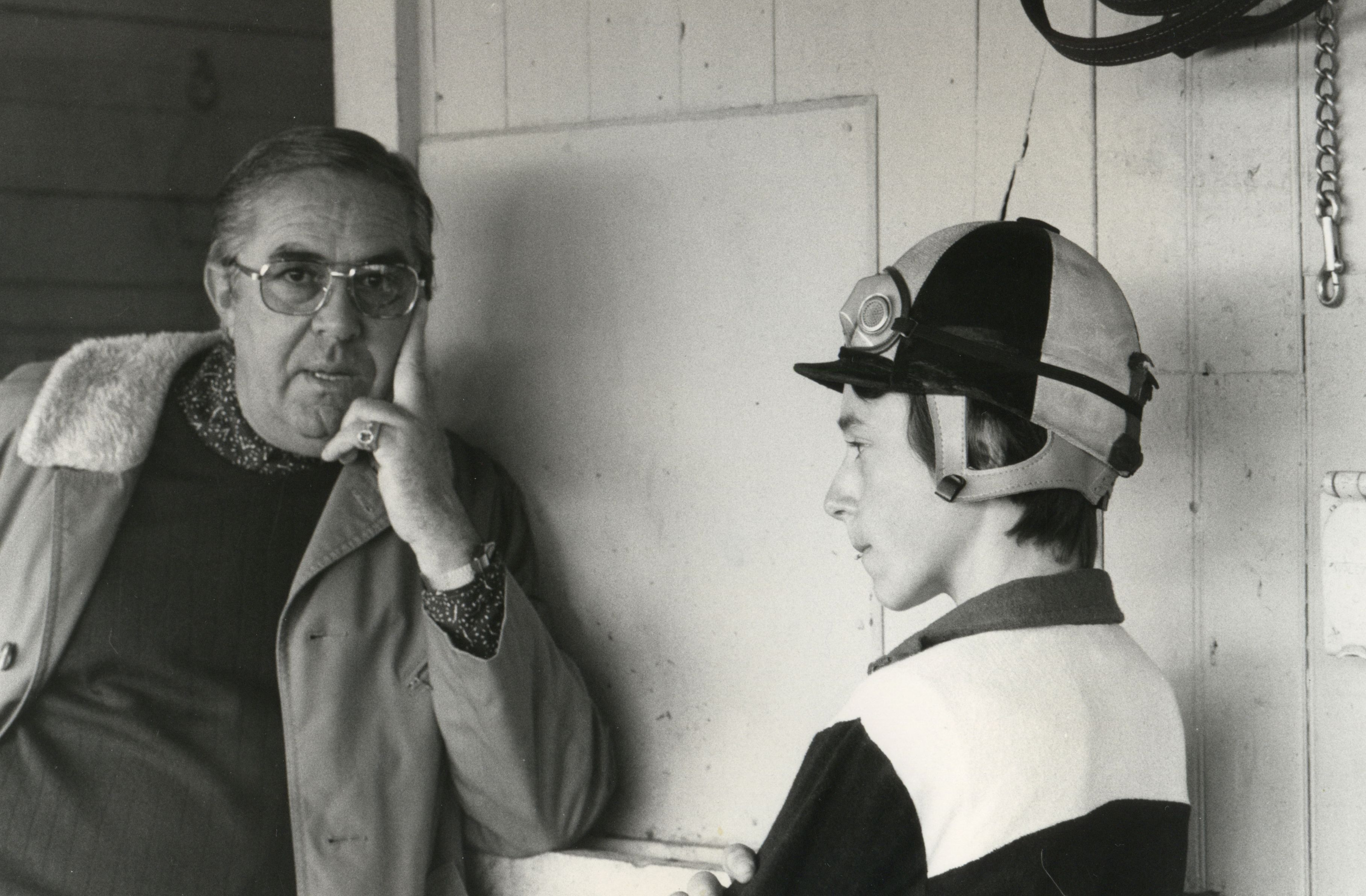 Laz Barrera and jockey Steve Cauthen (NYRA/Photo Communications /Museum Collection)