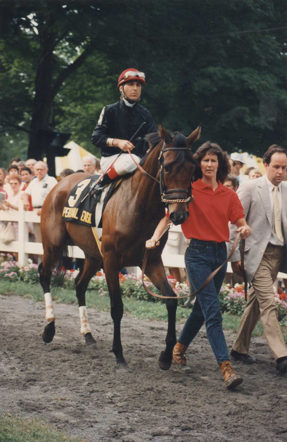 Randy Romero and Personal Ensign in the post parade for the 1988 Whitney at Saratoga (Barbara D. Livingston/Museum Collection)