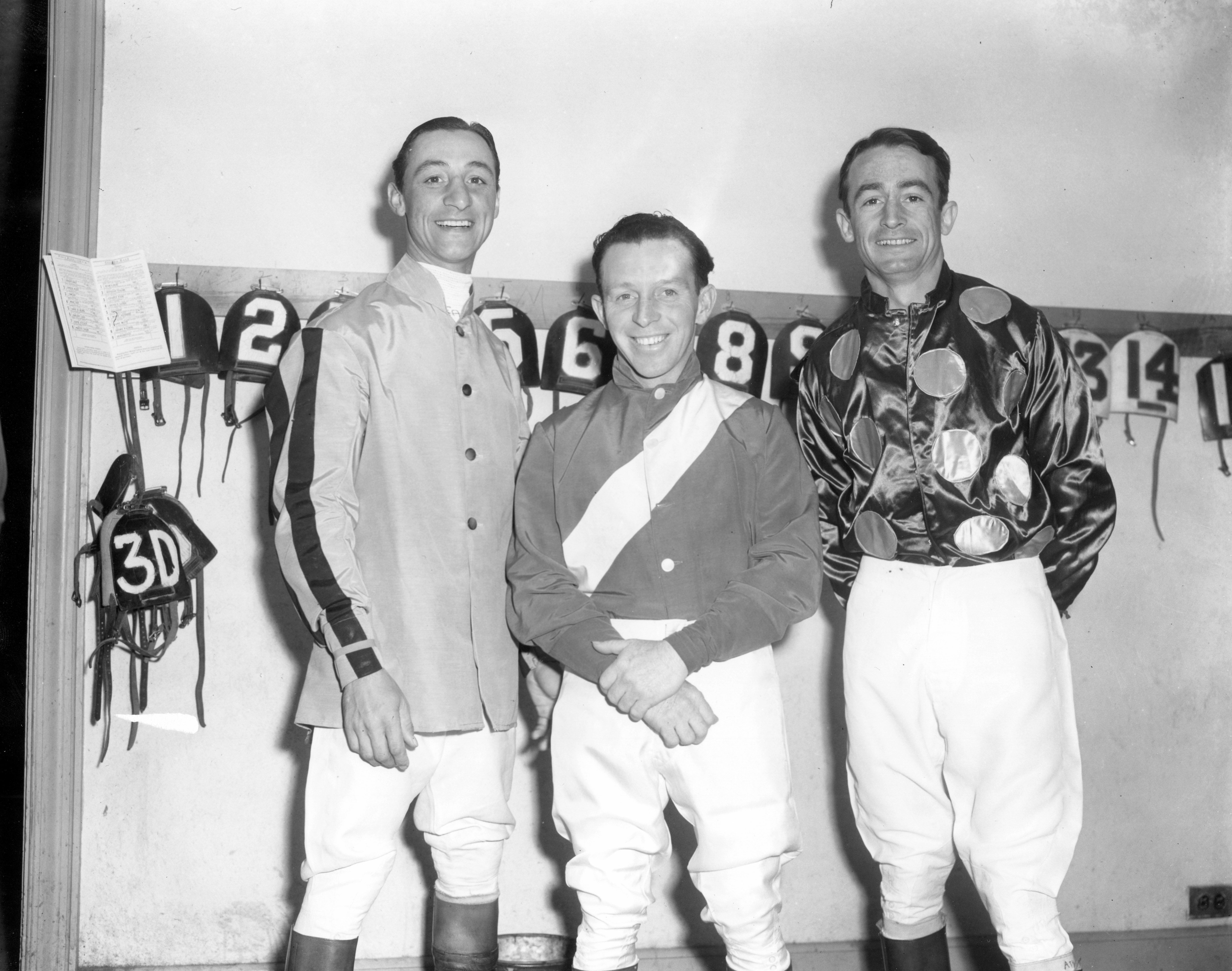 Eddie Arcaro, John Adams and Ted Atkinson in the jock's room (Keeneland Library Morgan Collection/Museum Collection)