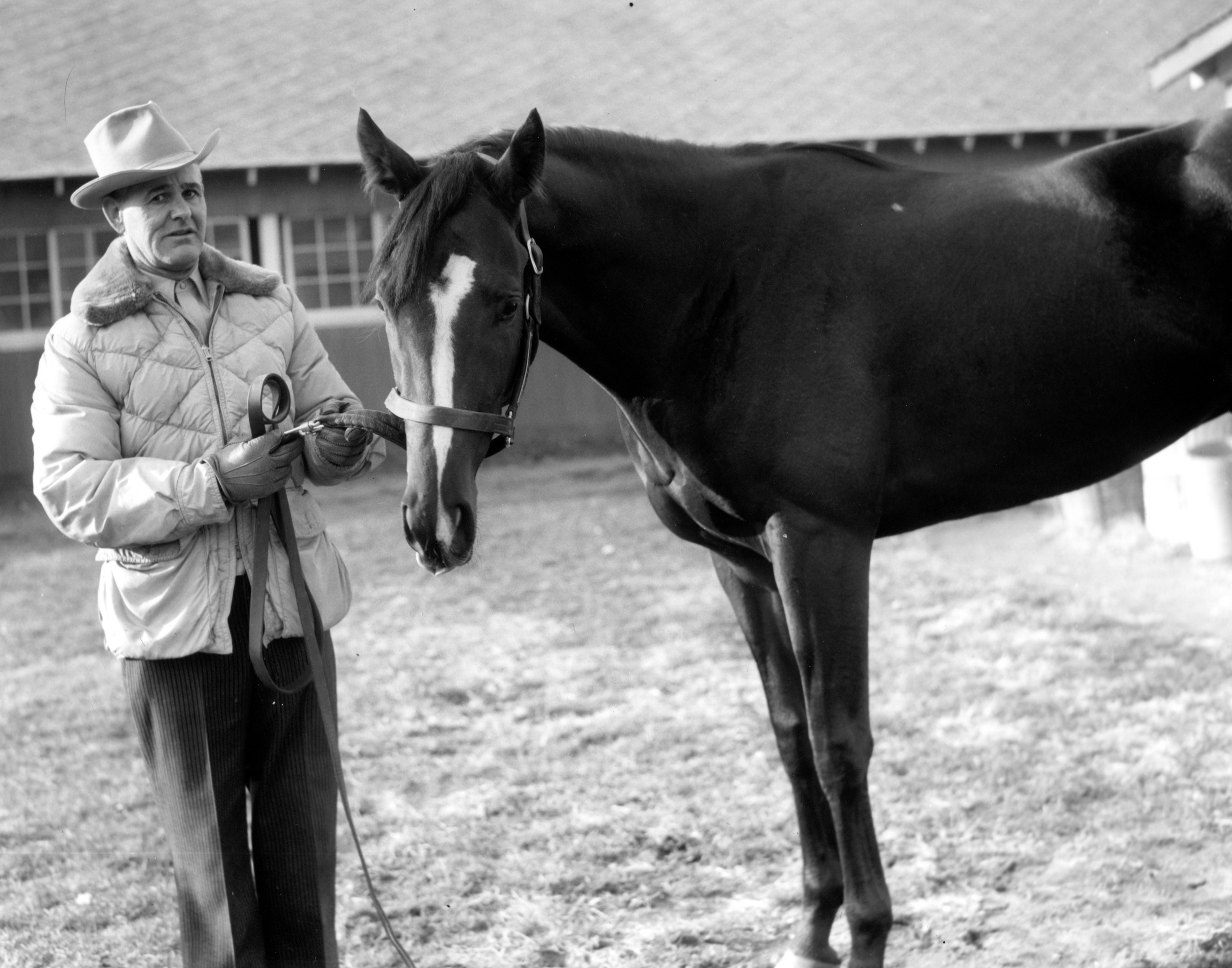 Ivan Parke, in his new role as trainer, with Jewel's Reward at Belmont Park, November 1957 (Keeneland Library Morgan Collection/Museum Collection)