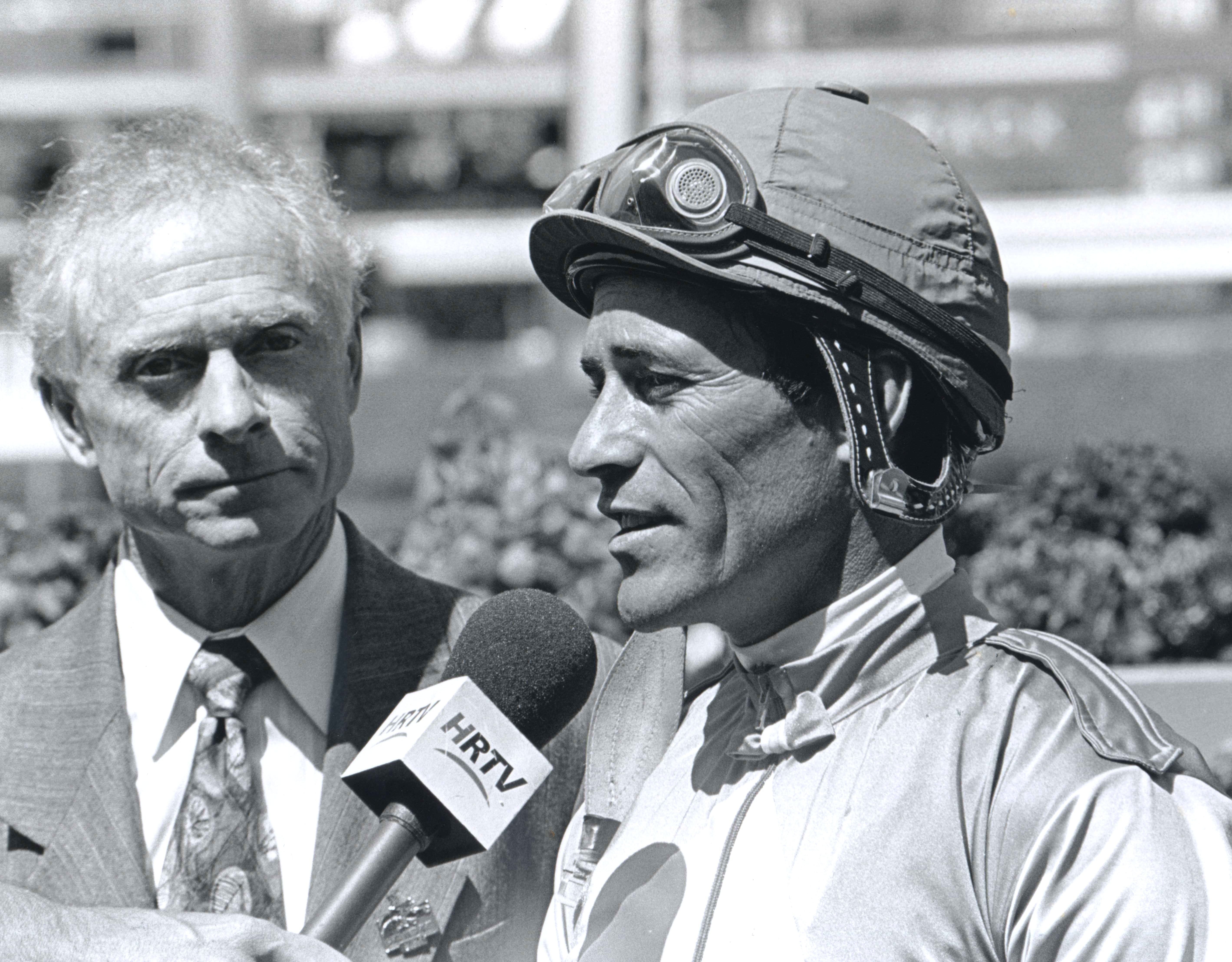Gary Steven expresses gratitude for tribute in the winners circle celebration on his record nine wins of the Santa Anita Derby, April 19, 2003 (Bill Mochon/Museum Collection)