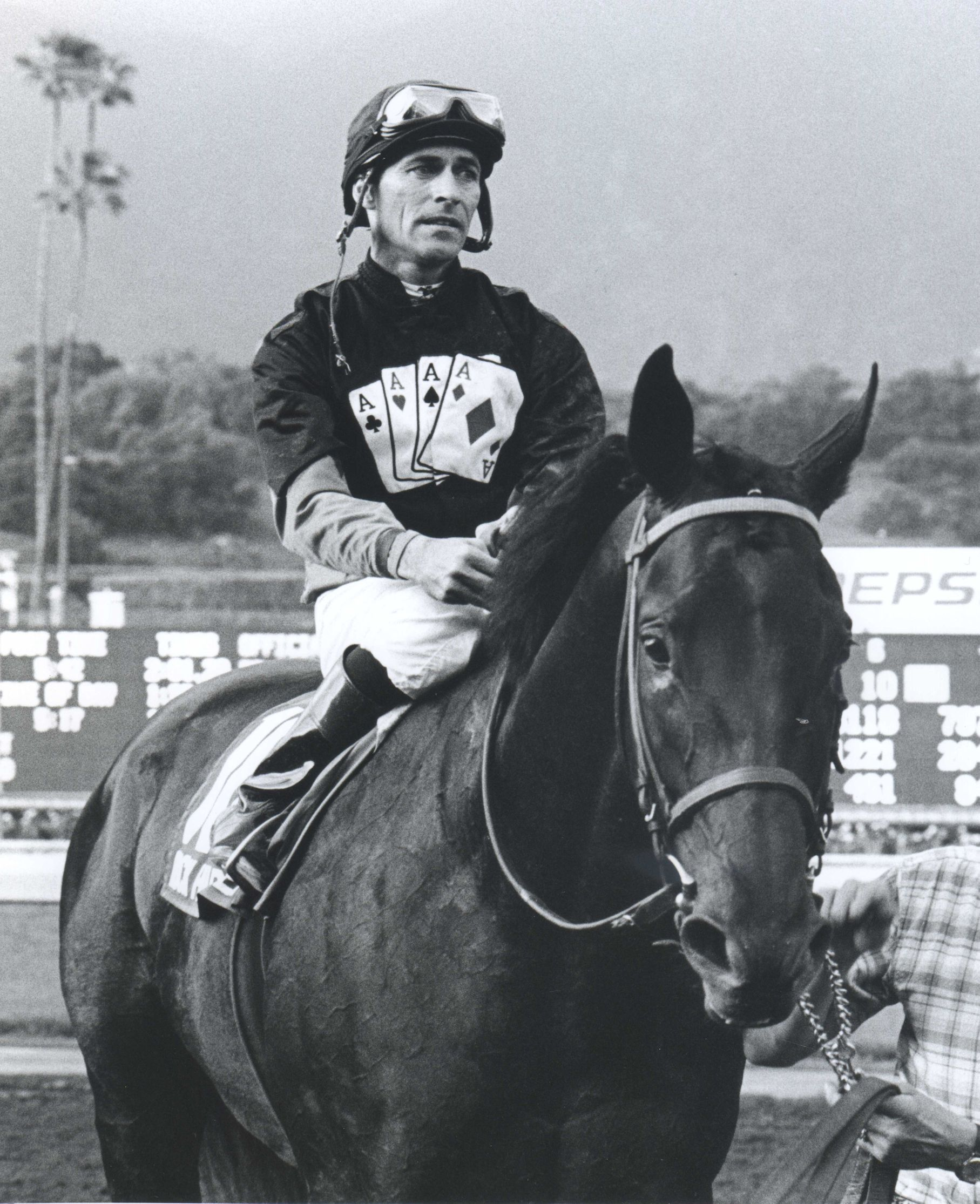 Gary Stevens aboard Hard Rock Ten up after winning the 2005 Santa Anita Handicap (Bill Mochon/Museum Collection)