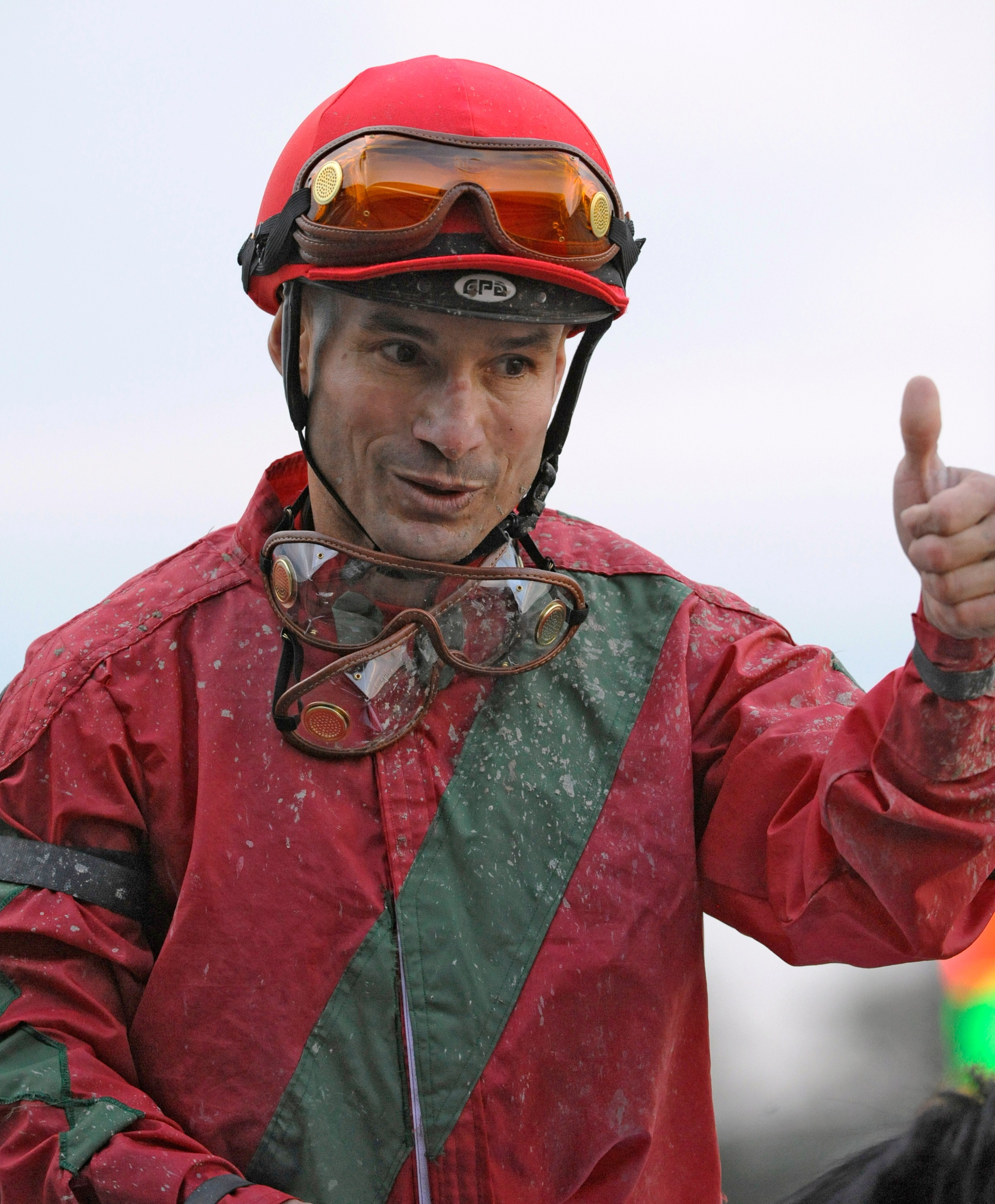 Alex Solis celebrates winning the 2011 Jockey Club Gold Cup at Belmont aboard Flat Out (Skip Dickstein)