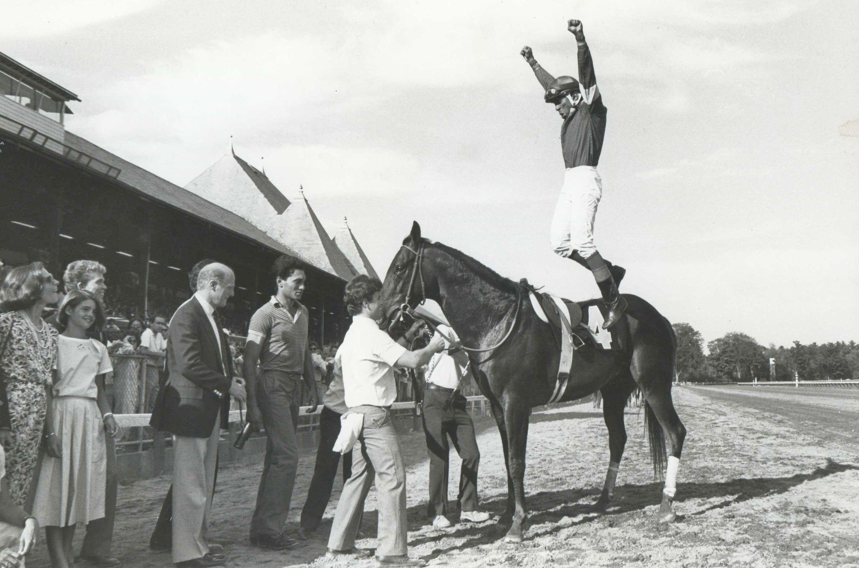 Angel Cordero, Jr. celebrates a win at Saratoga (Museum Collection)