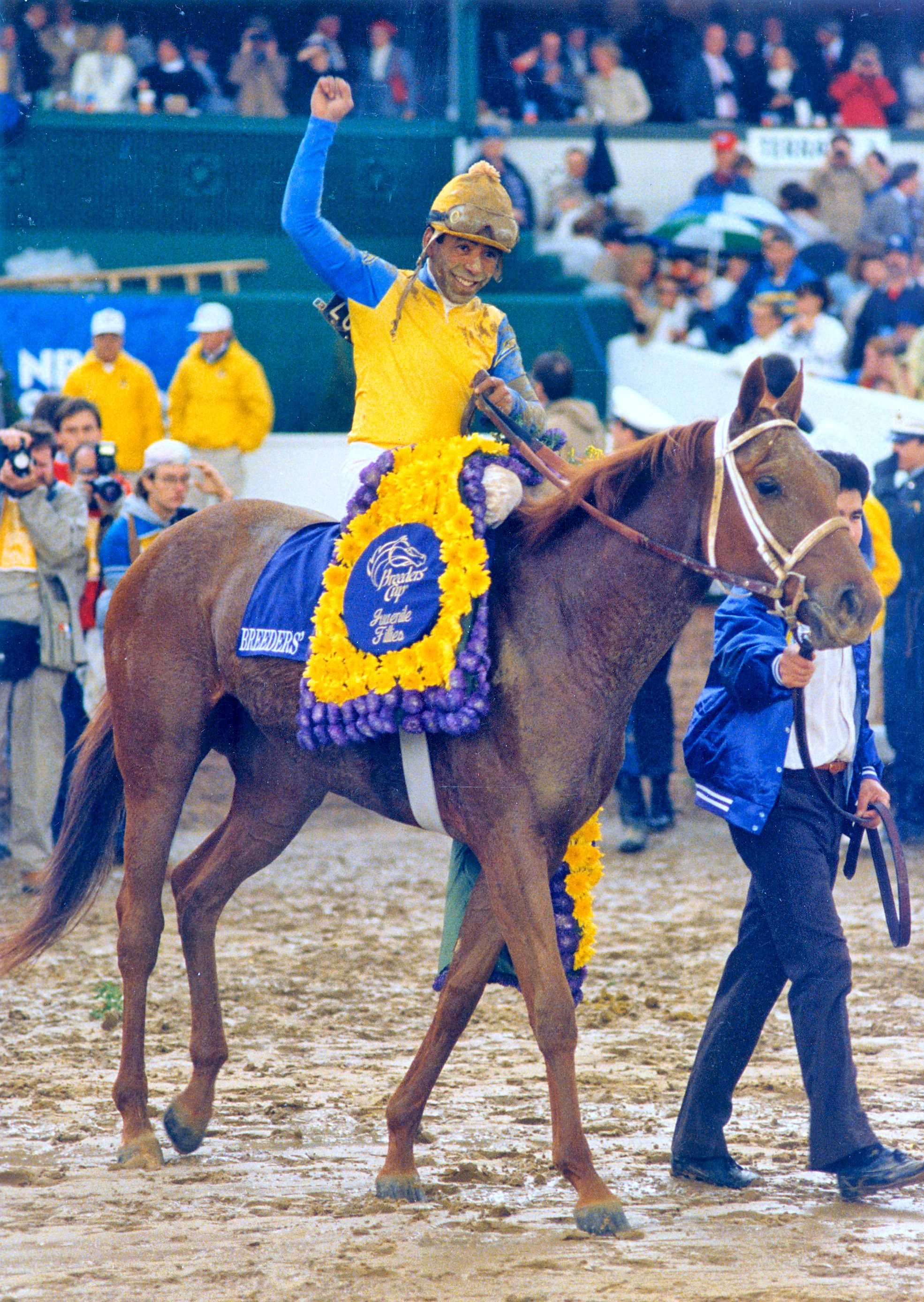 Angel Cordero, Jr. celebrates winning the 1988 Breeders' Cup Juvenile Fillies with Open Mind (The BloodHorse)
