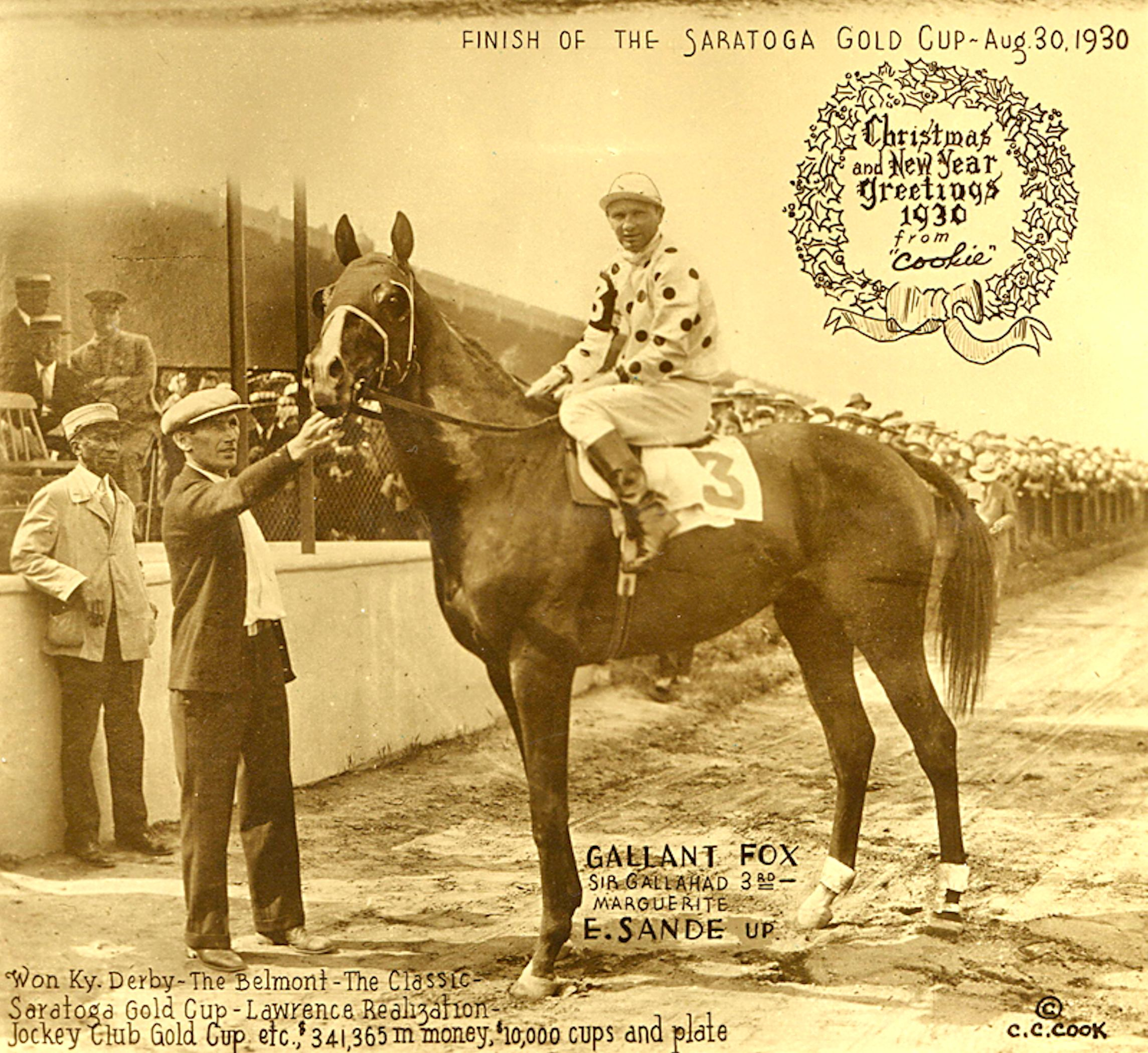 Earl Sande aboard Gallant Fox (C. C. Cook)