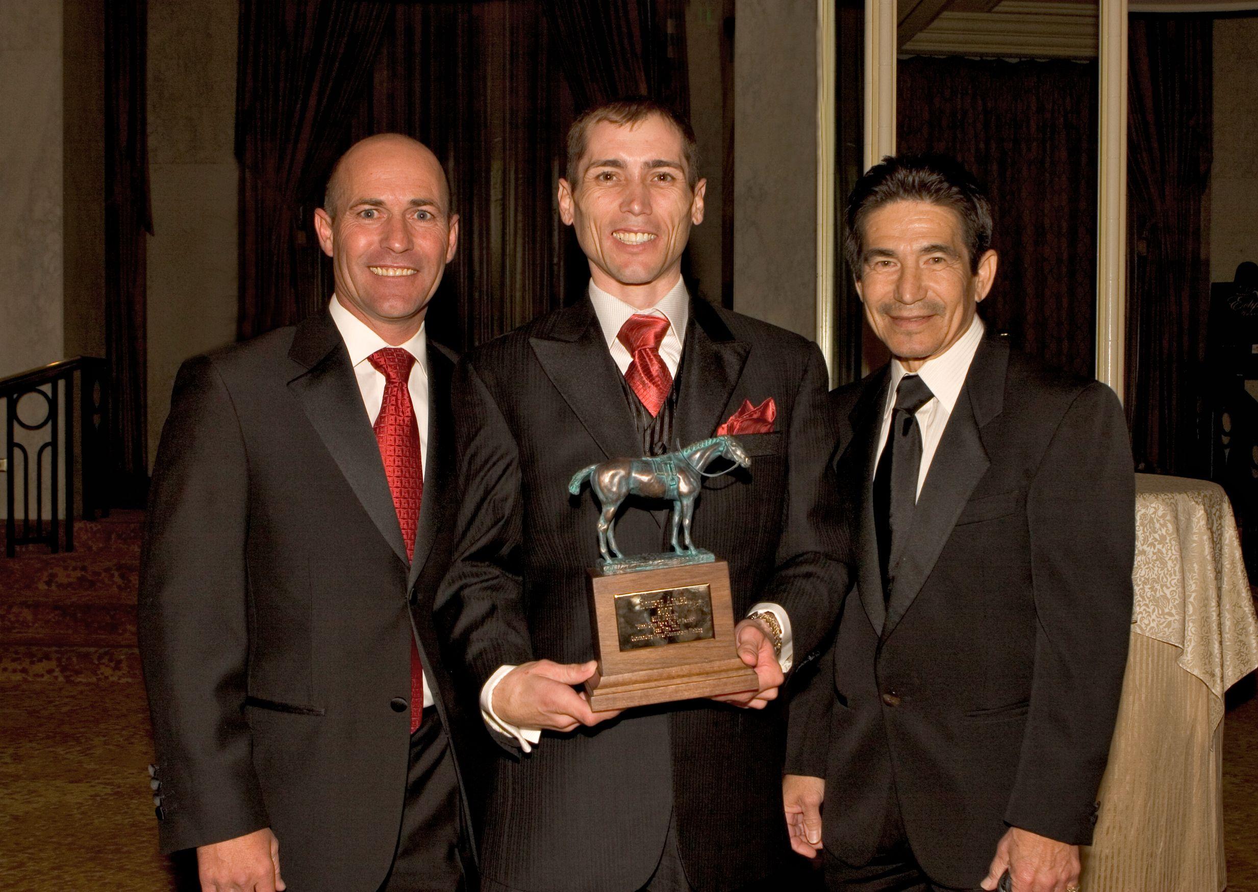 Garrett Gomez, middle, along with Gary Stevens, left, and Laffit Pincay, Jr. (Benoit Photo)