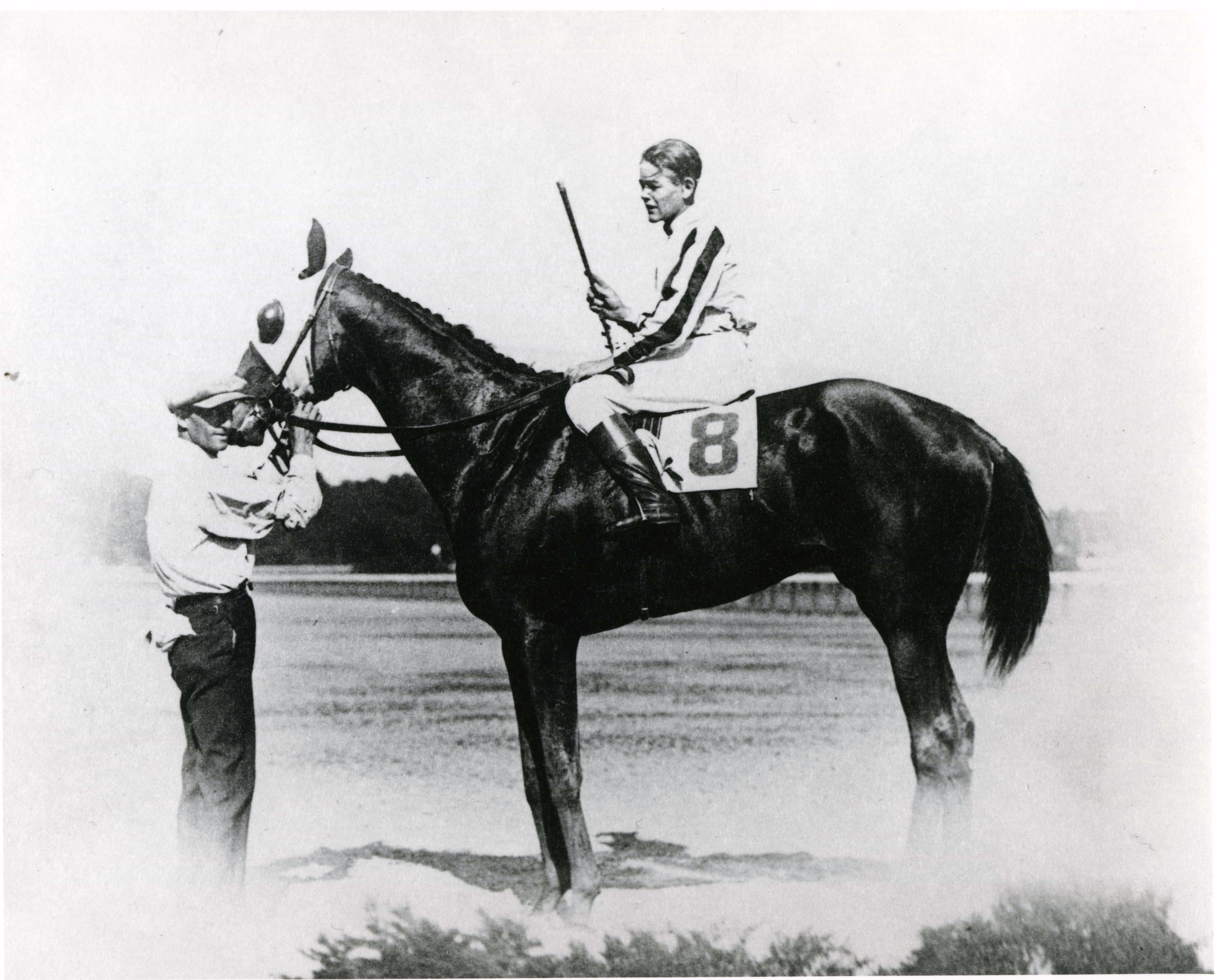 Ivan Parke and Cherry Pie in the winner's circle after winning a race at Saratoga, August 1924 (H. C. Ashby/Museum Collection)