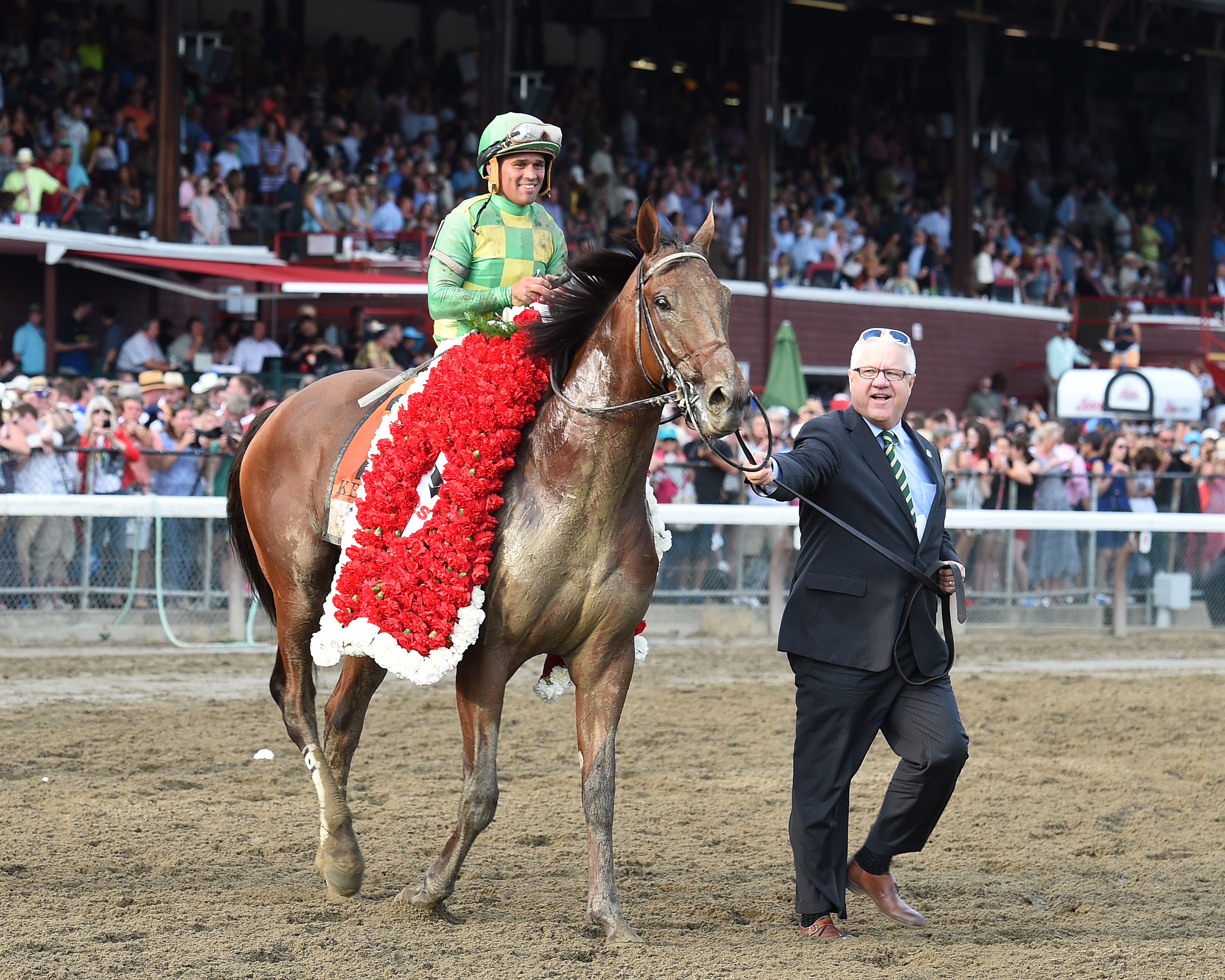 Javier Castellano after winning his record fifth Travers Stakes aboard Keen Ice (NYRA)
