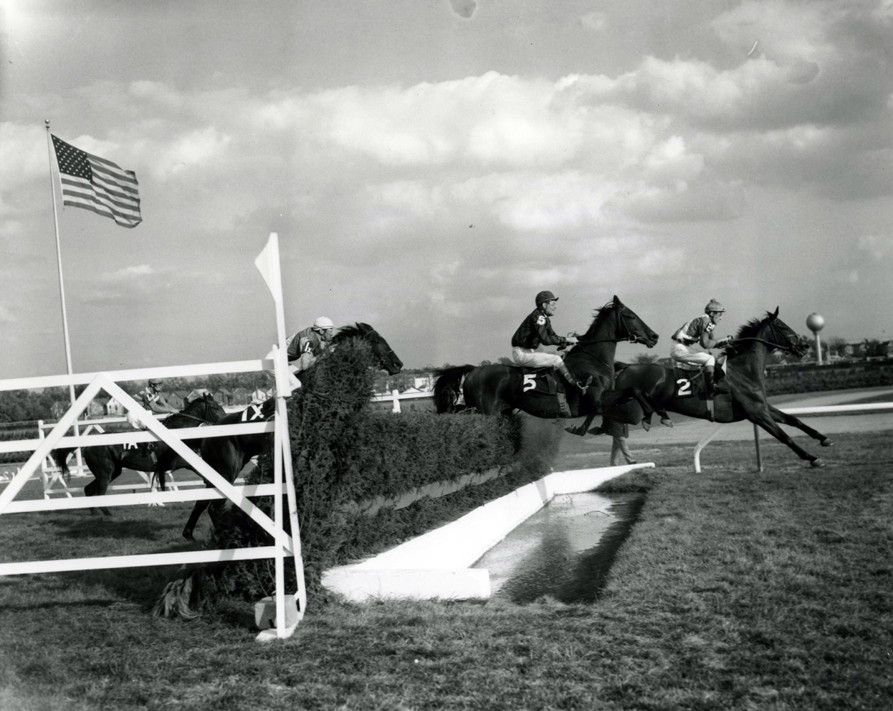 Joe Aitcheson and Peal clear the water obstacle in the 1961 Temple Gwathmey at Aqueduct (Keeneland Library Morgan Collection/Museum Collection)