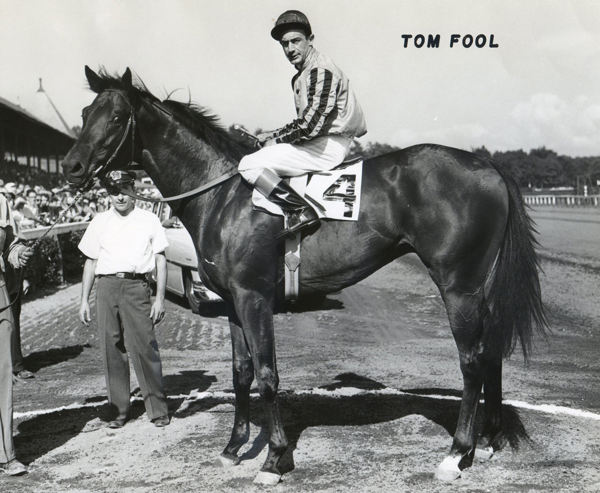 Ted Atkinson and Tom Fool in the winner's circle for the 1951 Grand Union Hotel Stakes at Saratoga (Museum Collection)