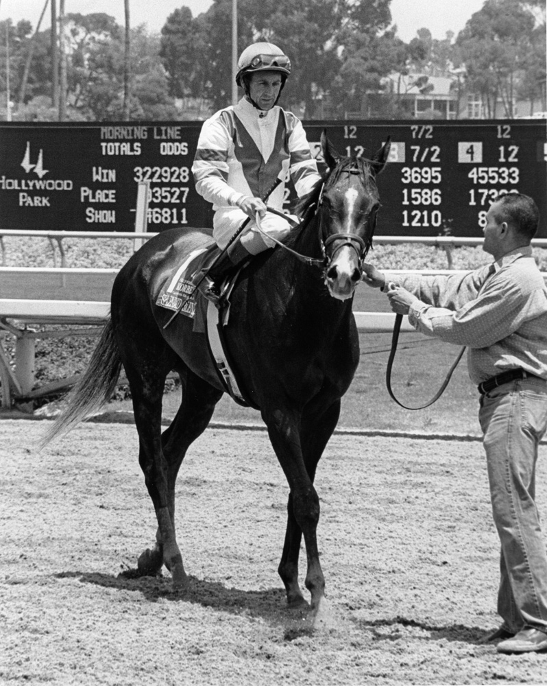 Jerry Bailey and Splendid Blended after winning the 2005 Vanity at Hollywood Park (Bill Mochon/Museum Collection)