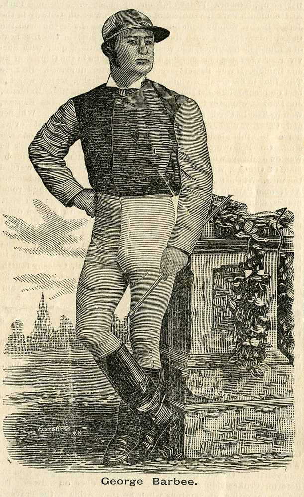 Illustration of jockey George Barbee from New York Sportsman, December 1882 (Keeneland Library Collection)
