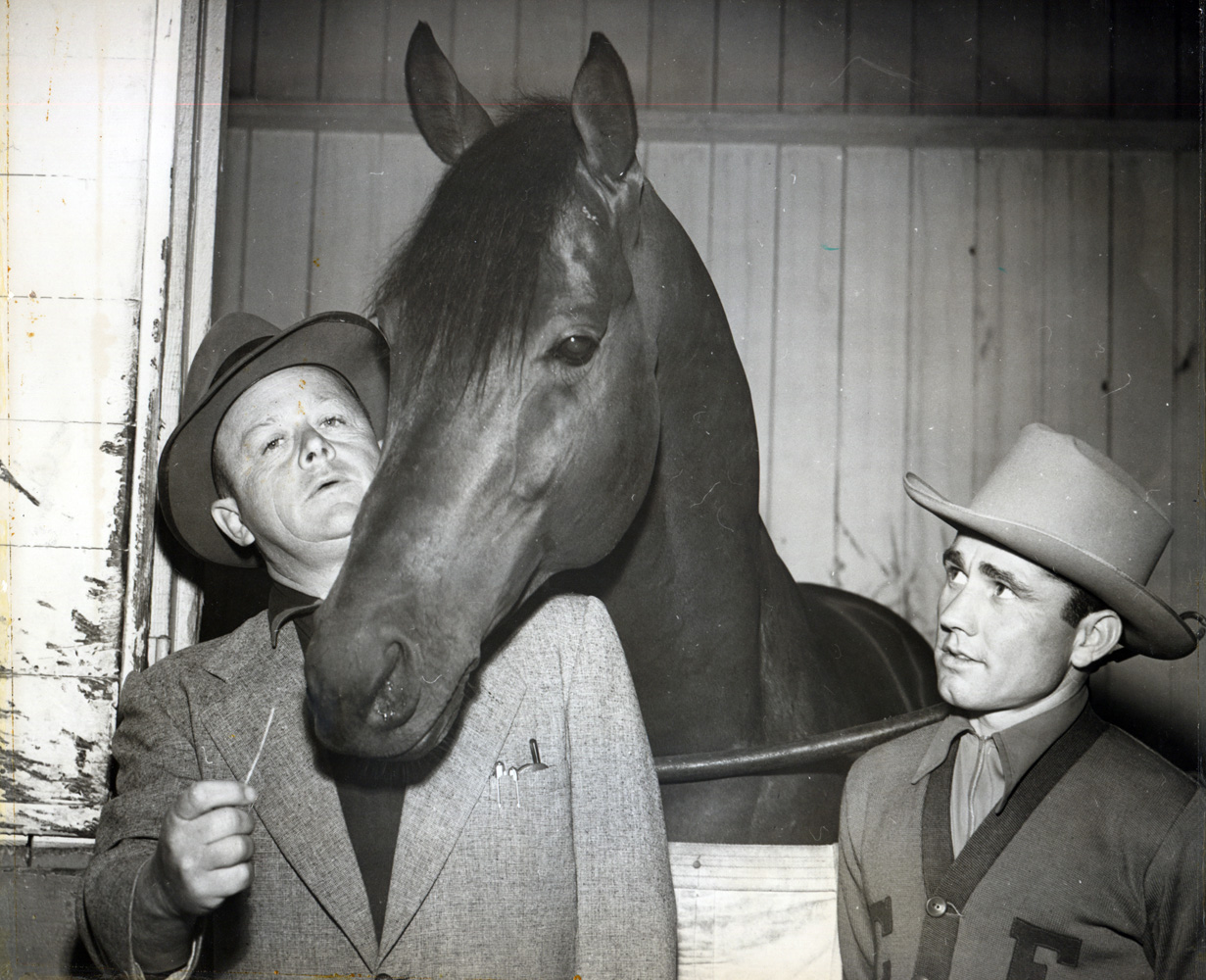 Trainer Jimmy Jones, Citation and Steve Brooks at Hollywood Park (Hollywood Park Photo/Museum Colleciton)