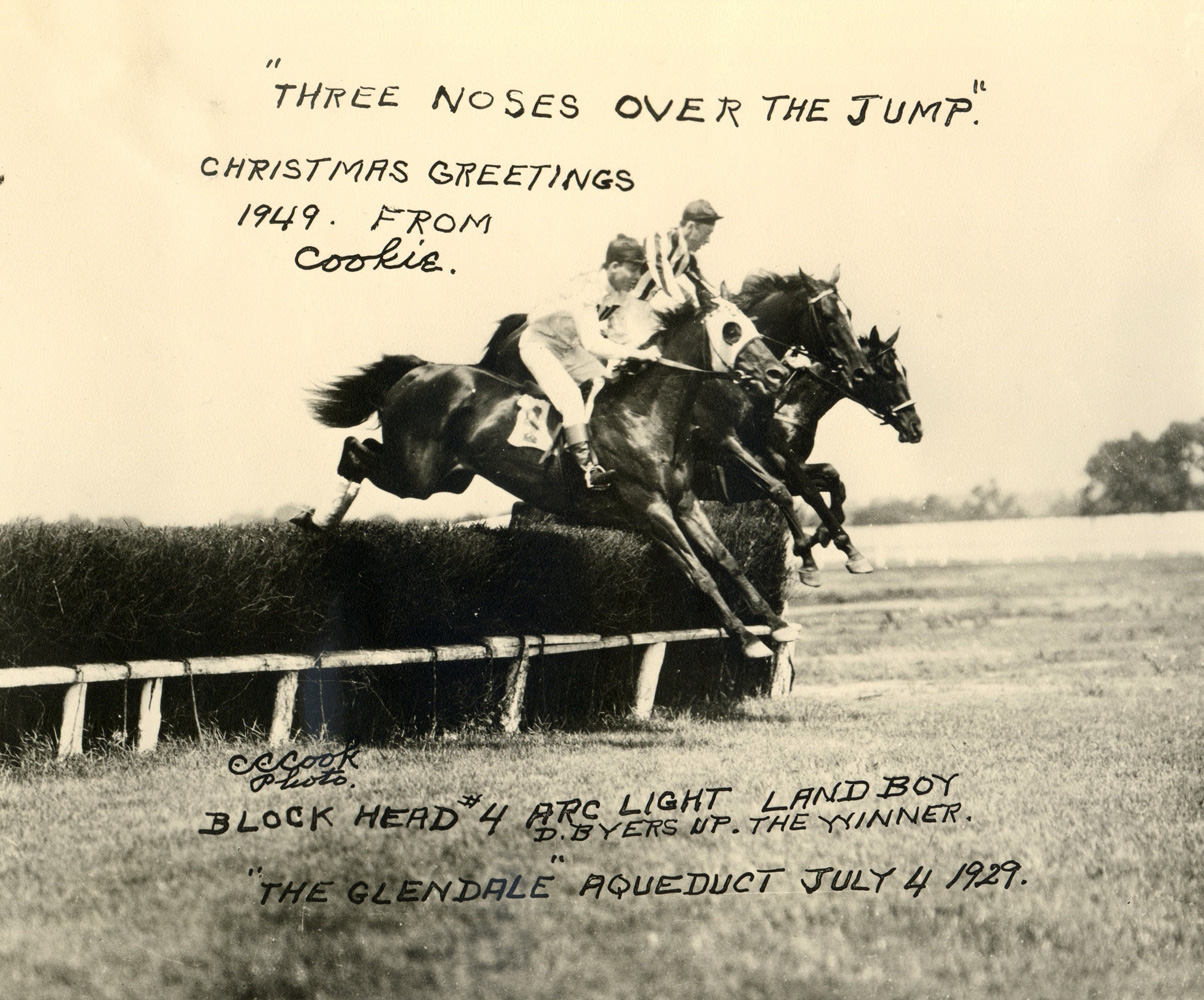 Photo greeting card by C. C. Cook depicting the 1929 Glendale at Aqueduct, won by Block Head and J. Dallett Byers (C. C. Cook/Museum Collection)