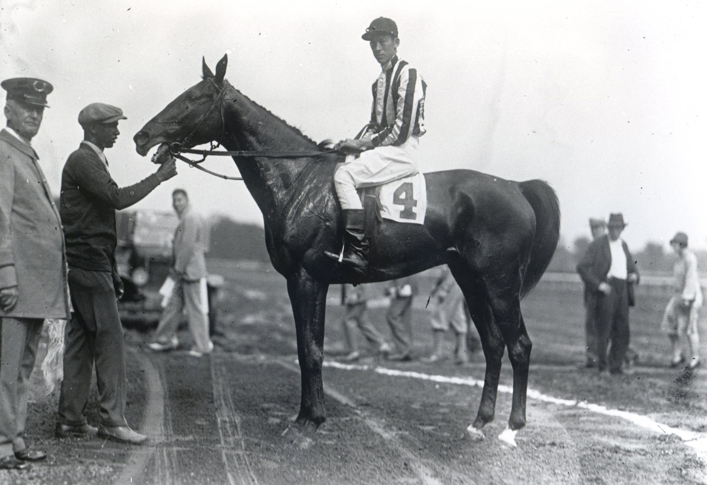 J. Dallett Byers and Lorenzo in the winner's circle at Saratoga (Keeneland Library Cook Collection/Museum Collection)
