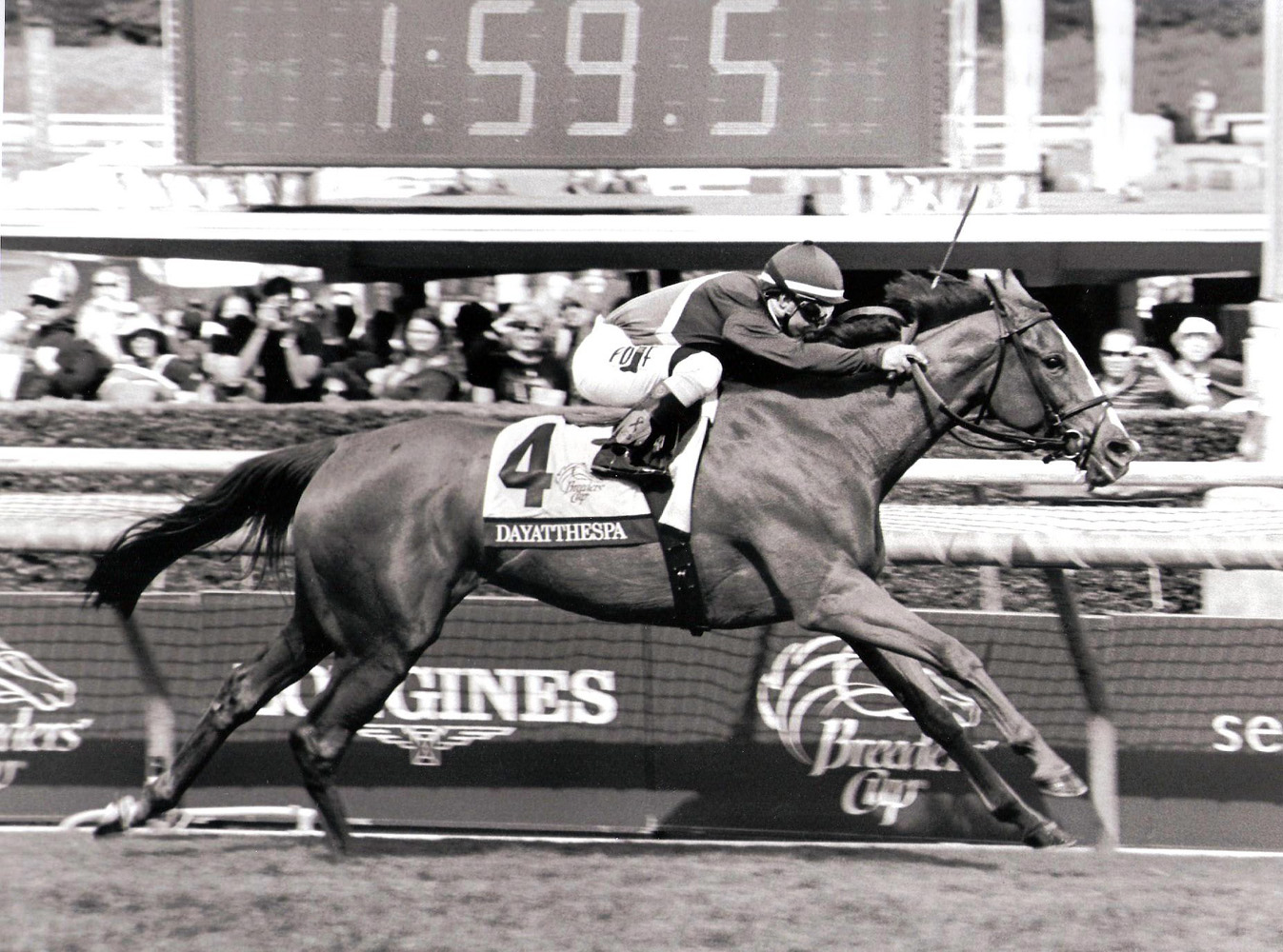 Javier Castellano and Dayatthespa winning the 2014 Breeders' Cup Filly & Mare Turf at Santa Anita (Bill Mochon/Museum Collection)