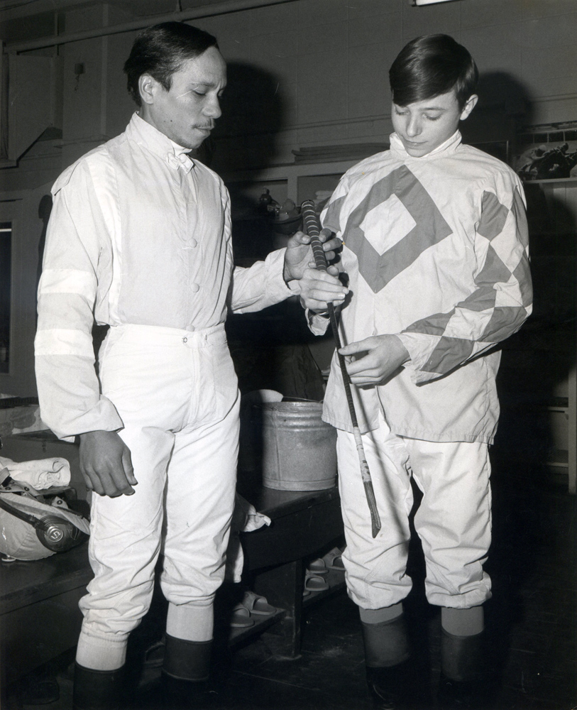 Jorge Velasquez and Steve Cauthen in the jock's room (Museum Collection)