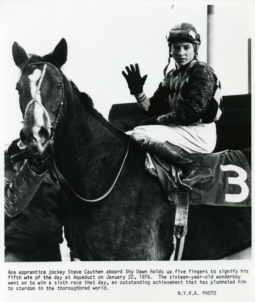 Steve Cauthen after his fifth win of the day at Aqueduct, January 1977 (NYRA/Museum Collection)