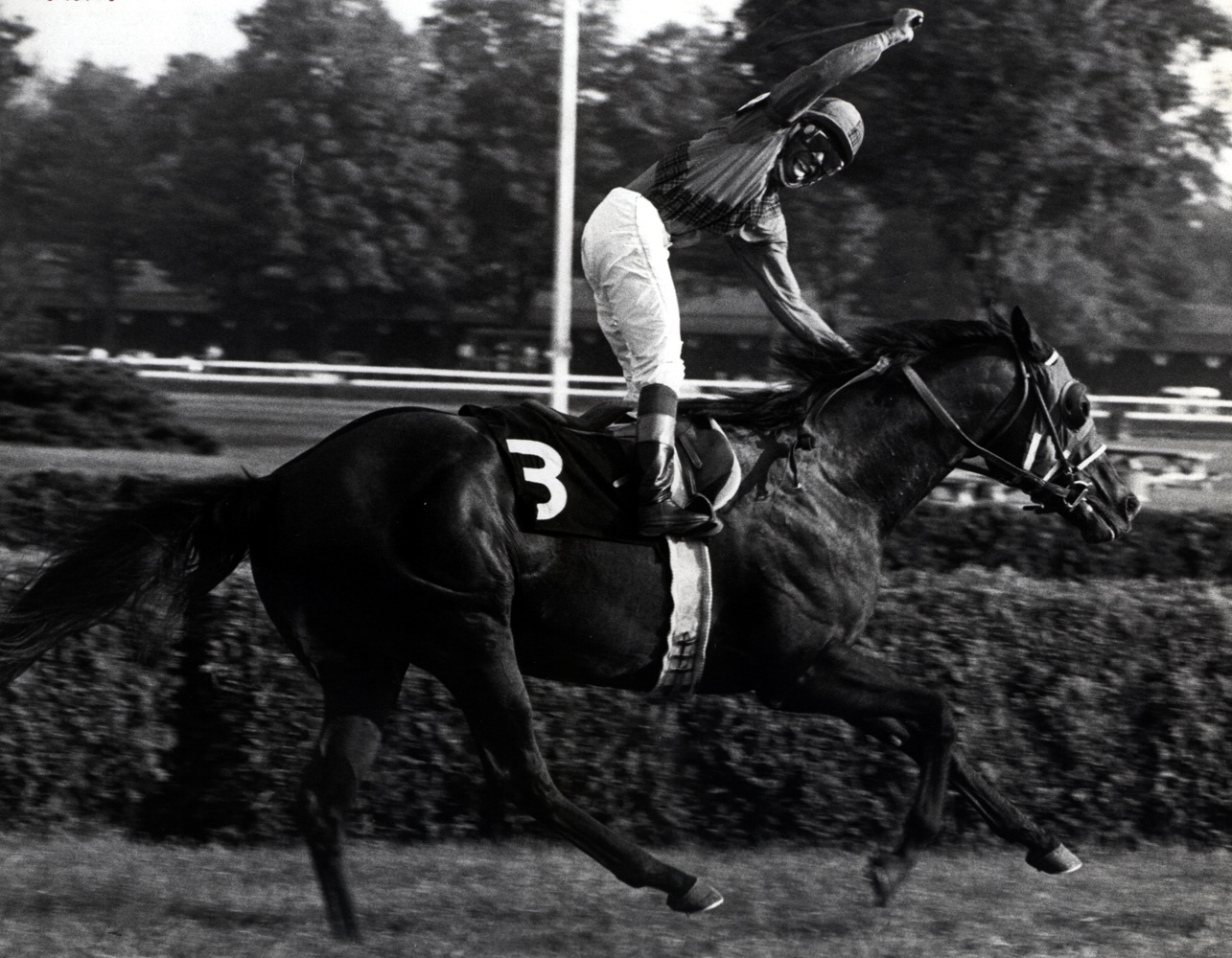 Angel Cordero, Jr. celebrating a win at Saratoga (Museum Collection)