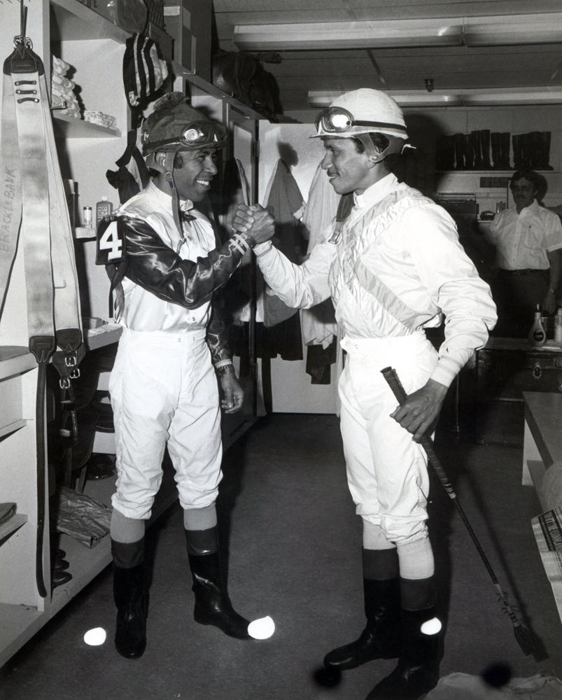 Angel Cordero, Jr. and Jorge Velasquez in the jock's room (Museum Collection)