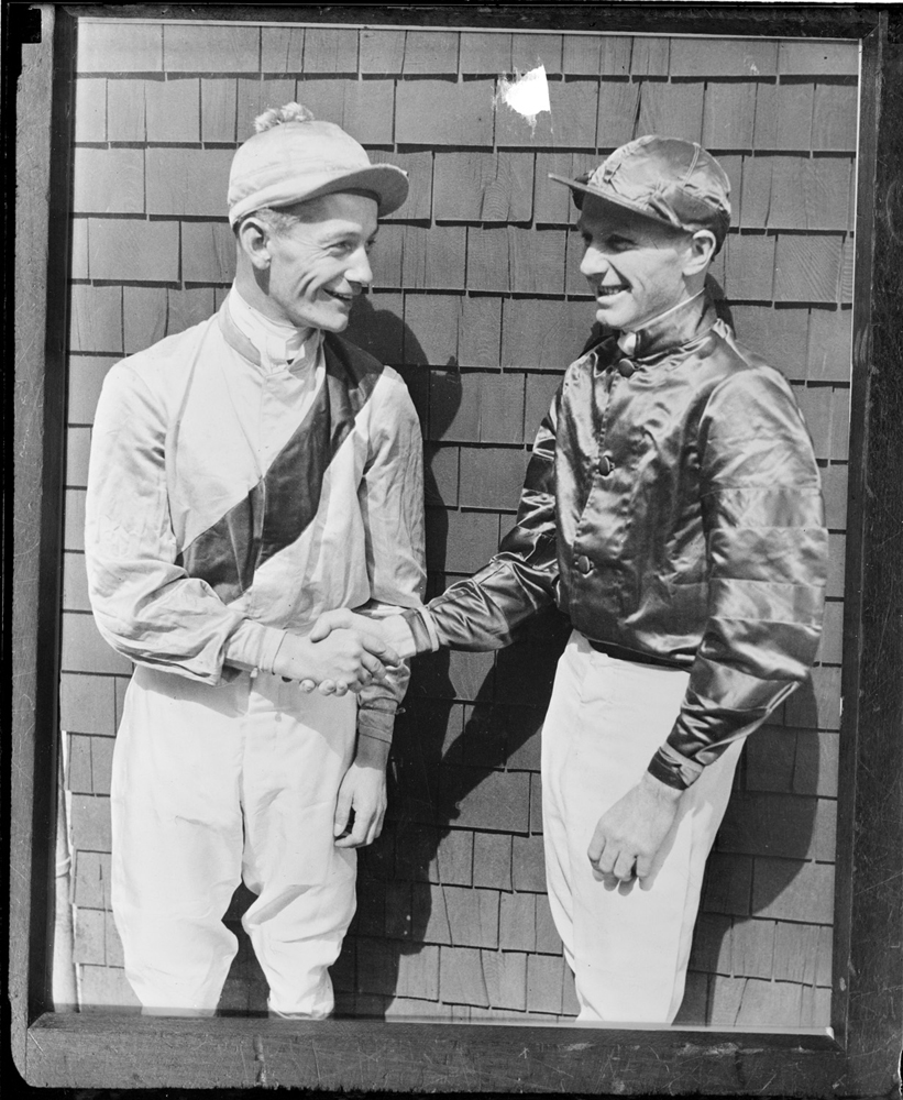 Buddy Ensor and Earl Sande at Jamaica Racetrack on Long Island, April 1932 (Courtesy of the Boston Public Library, Leslie Jones Collection)