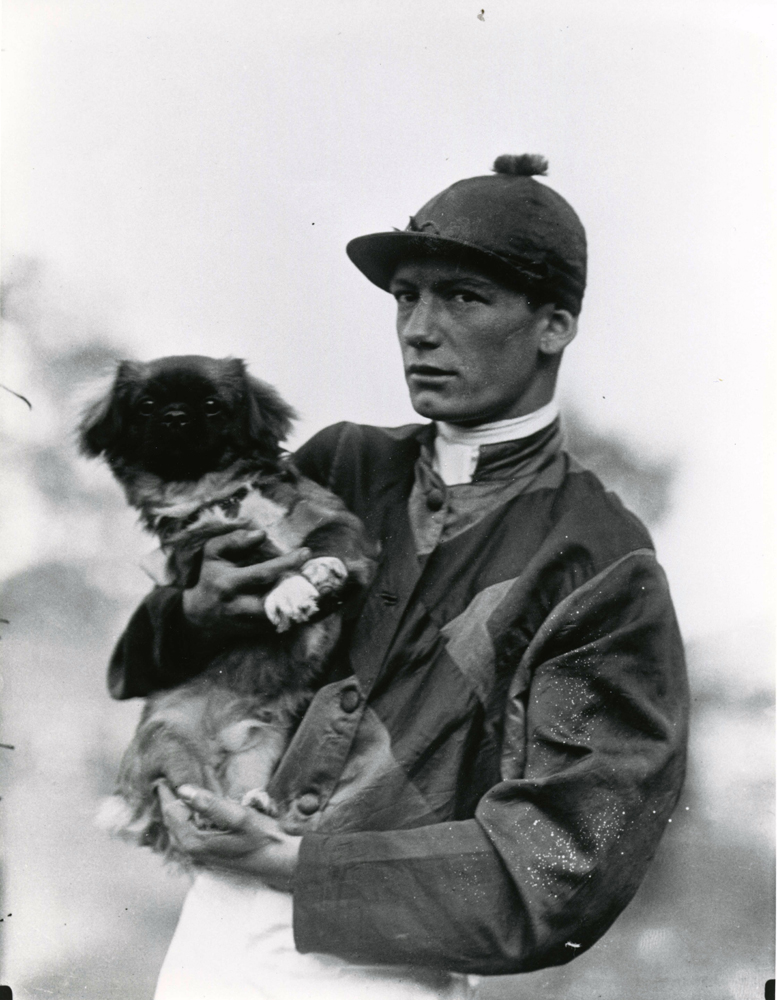 """Lavelle """"Buddy"""" Ensor with dog (Keeneland Library Cook Collection/Museum Collection)"""