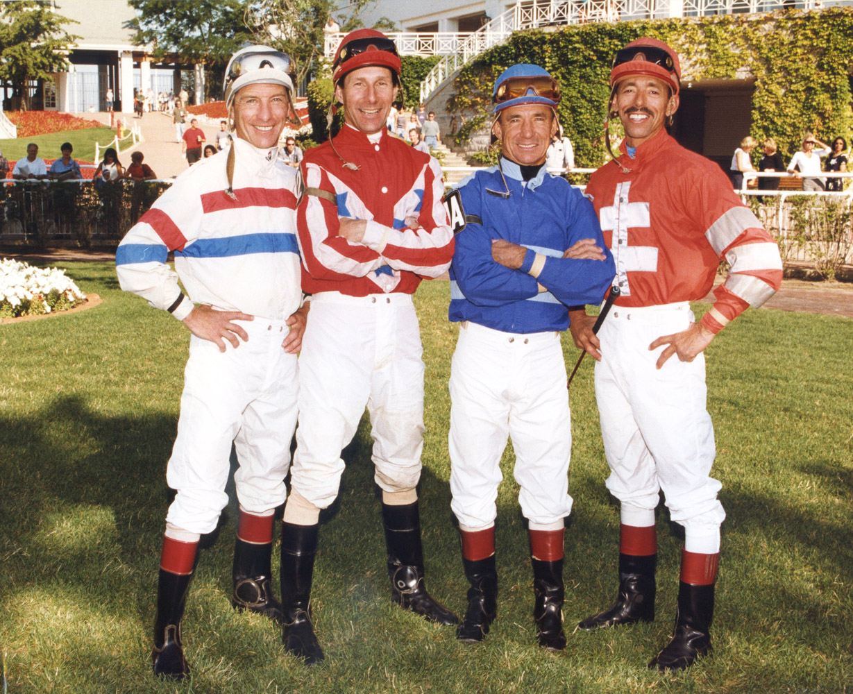 Arlington's 4,000 wins: jockeys Tim Doocy, Ray Sibille, Earlie Fires, and Mark Guidry (Benoit Photo/Museum Collection)