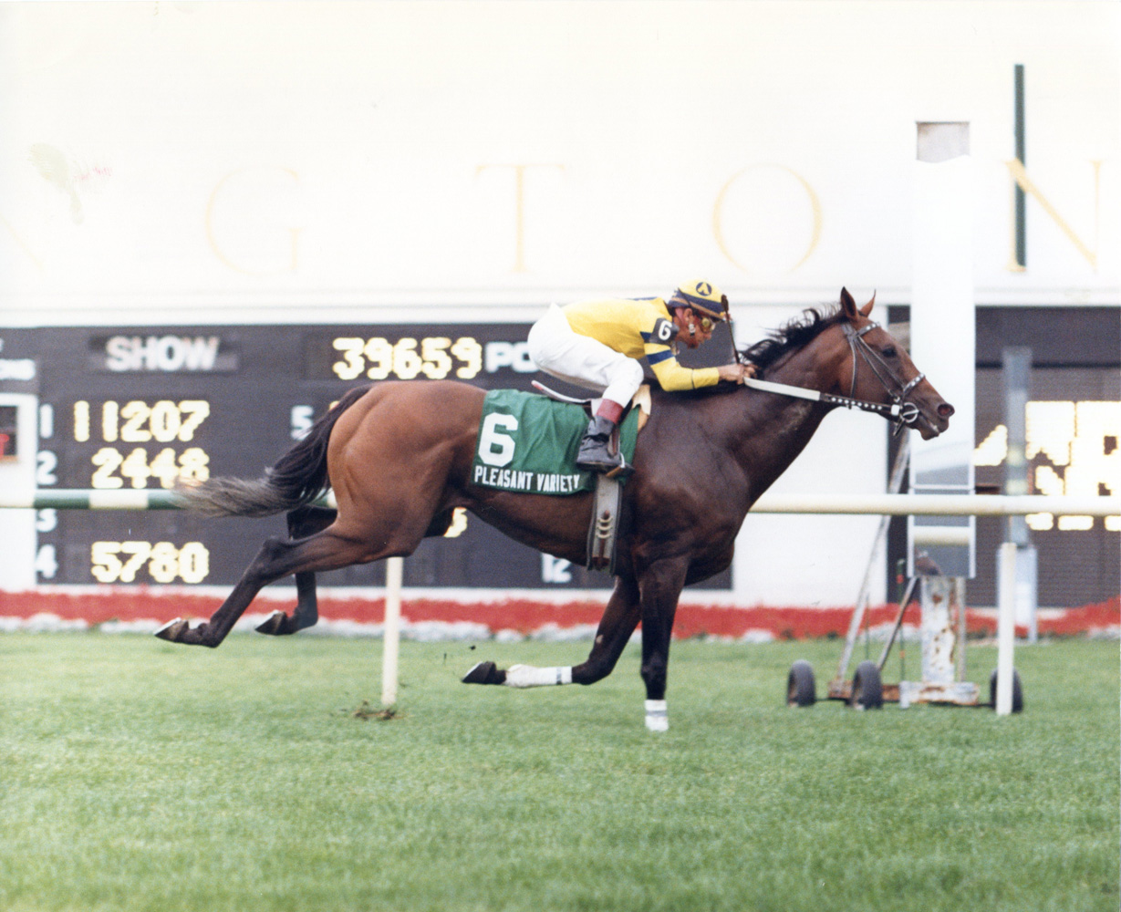Earlie Fires and Pleasant Variety winning the 1990 Arlington Handicap at Arlington Park (Four Footed Fotos/Museum Collection)