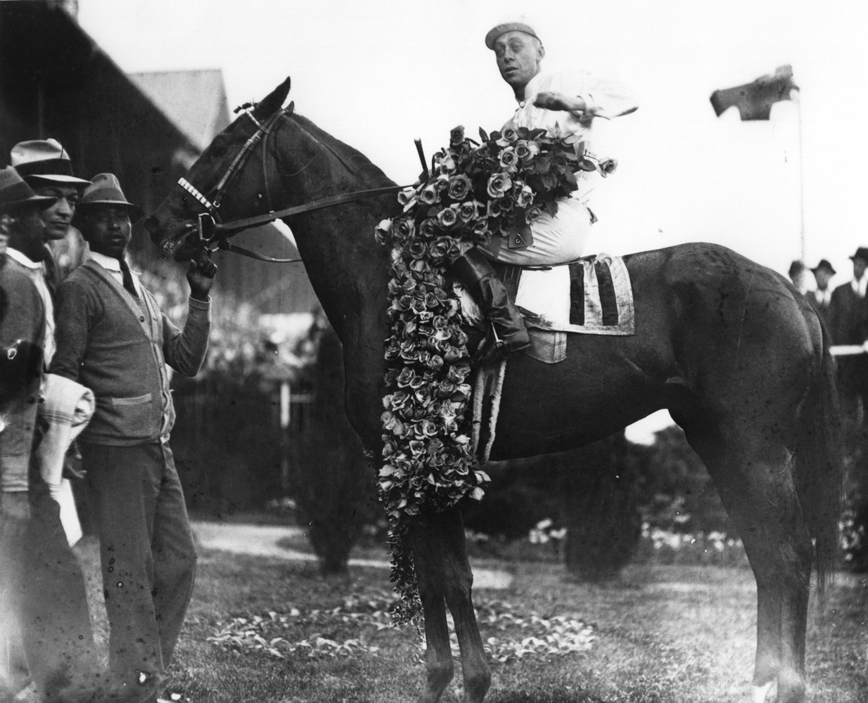 Mack Garner and Cavalcade in the winner's circle for the 1934 Kentucky Derby (Churchill Downs Inc./Kinetic Corp. /Museum Collection)